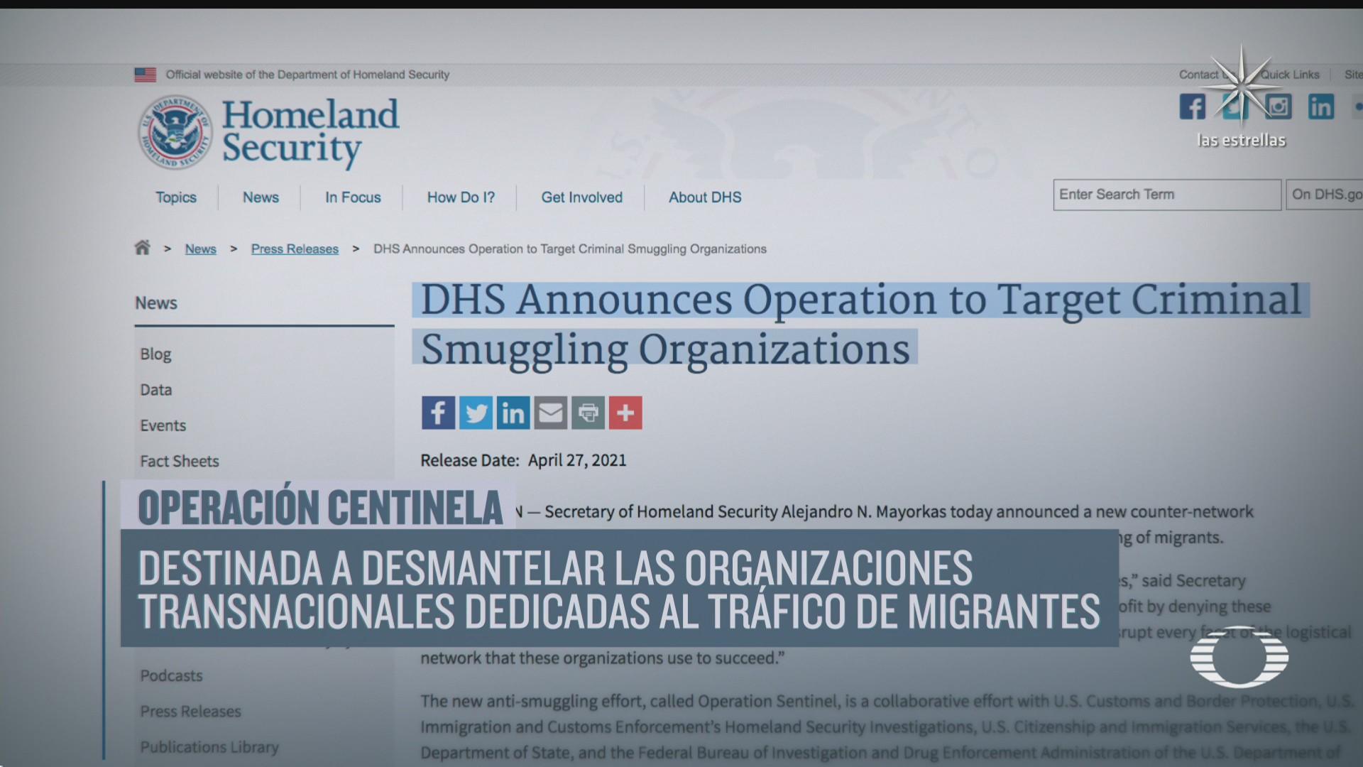 lista operacion centinela para desmantelar el trafico de migrantes