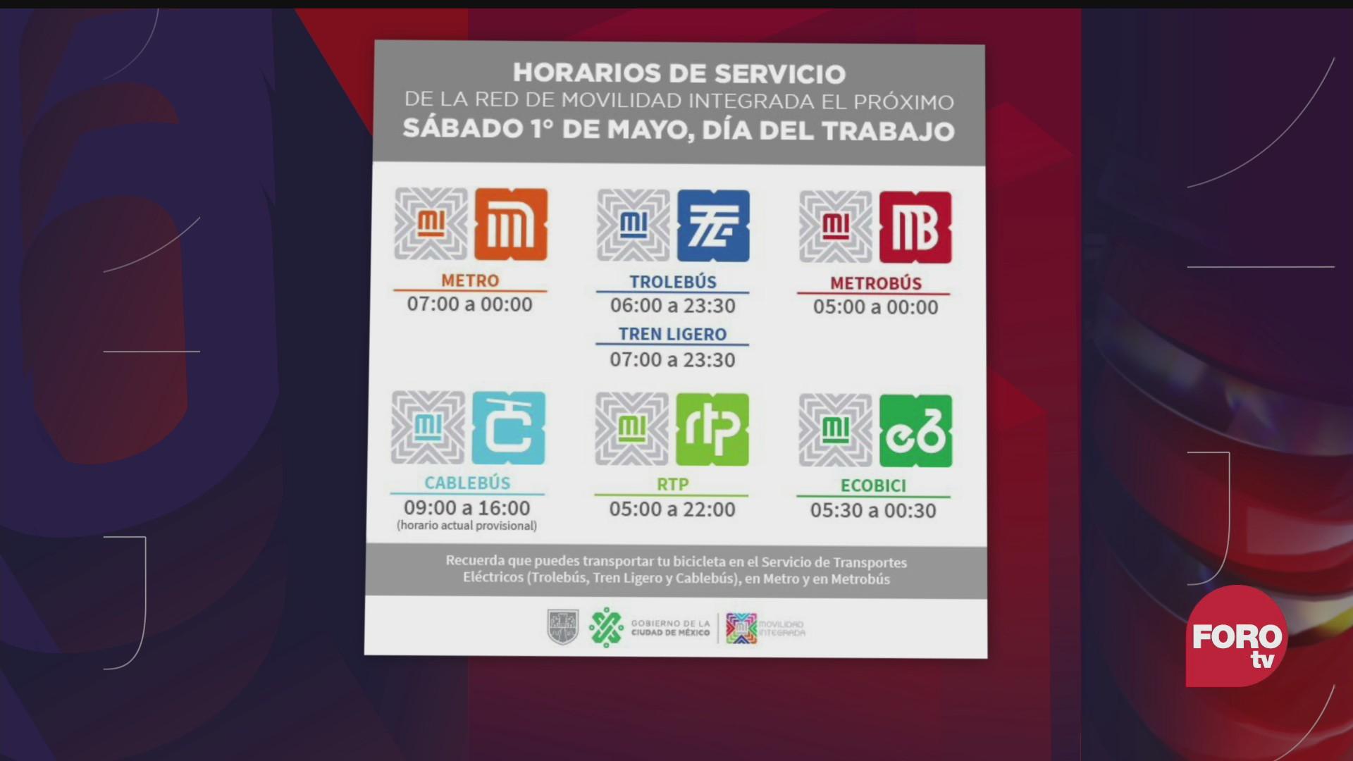 metro y metrobus tendran horario de dia festivo el 1 de mayo