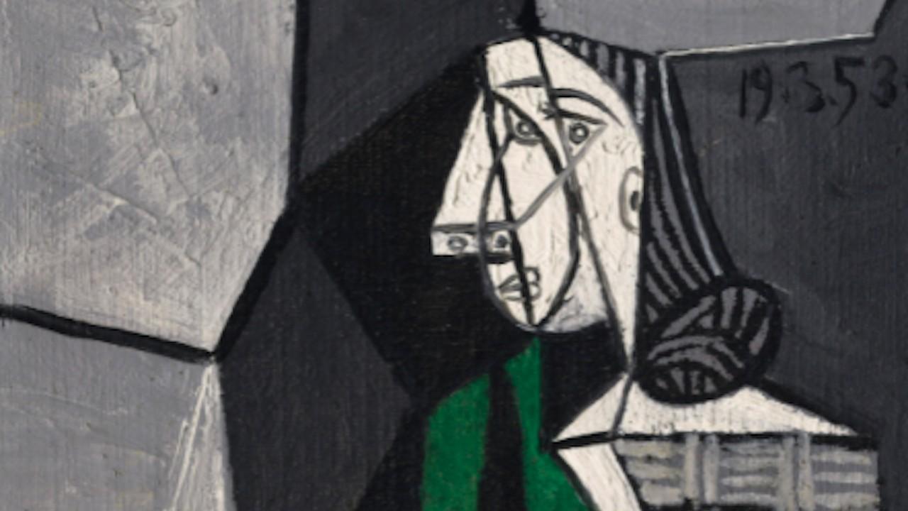 """""""Femme assise en costume vert""""de Pablo Picasso, basado en Françoise Gilot (Christies)"""
