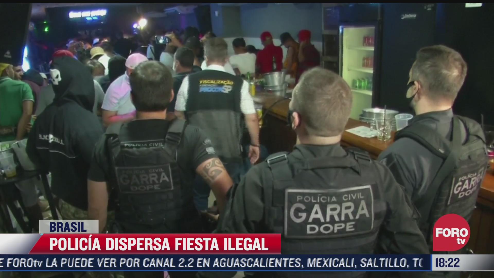 policia dispersa fiesta ilegal en brasil