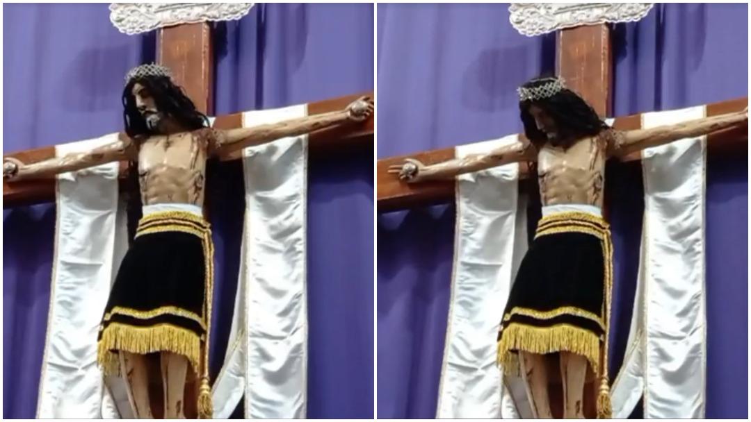 Imagen de Cristo mueve la cabeza en Amozoc, Puebla y se vuelve viral en redes sociales