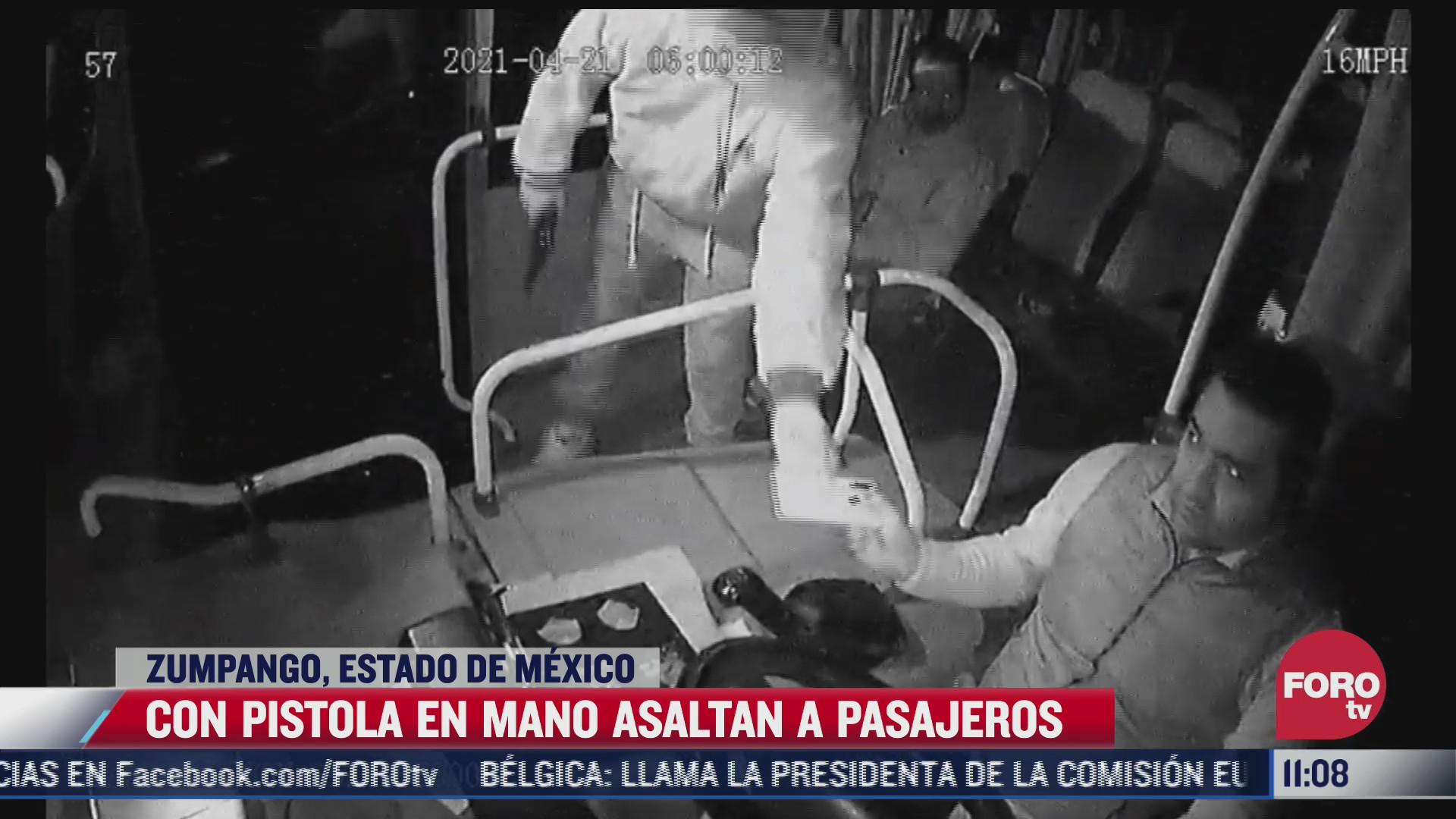 ratero dispara al suelo durante robo a camion de pasajeros en zumpango