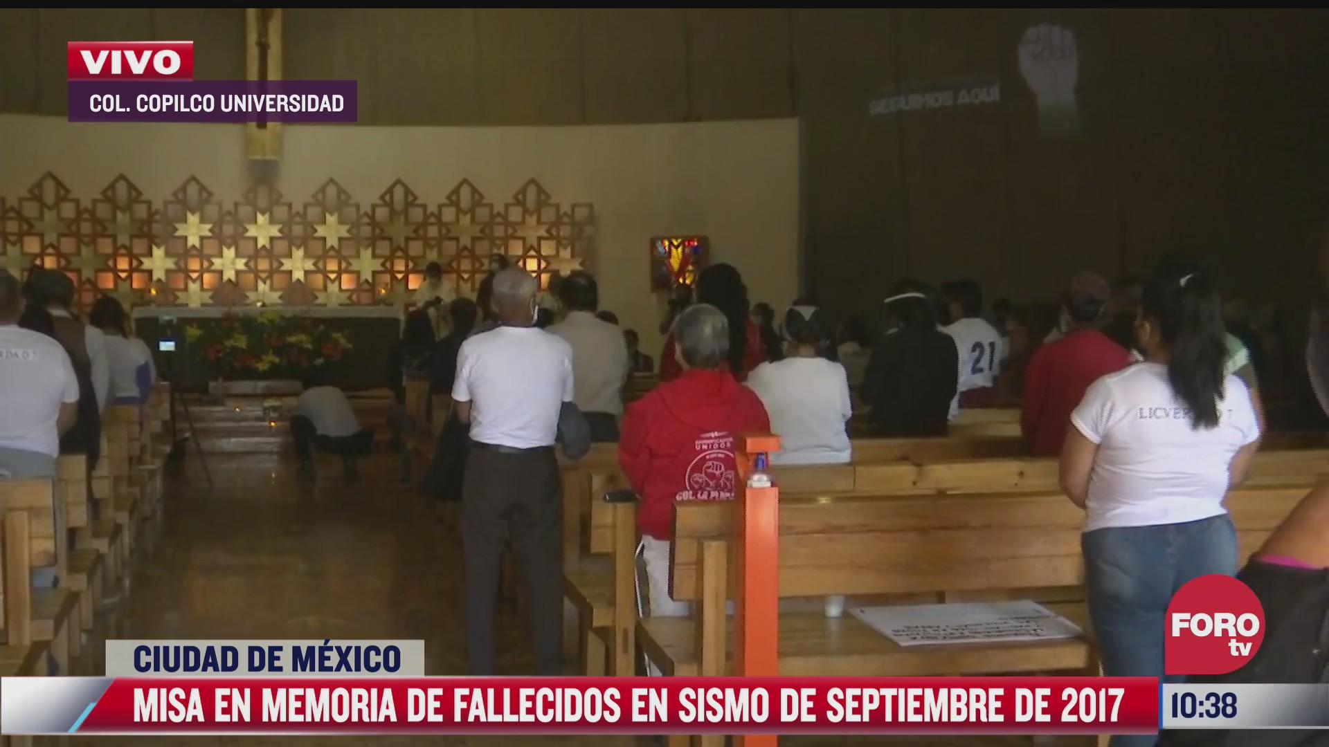 realizan misa en memoria de fallecidos en sismo de septiembre de