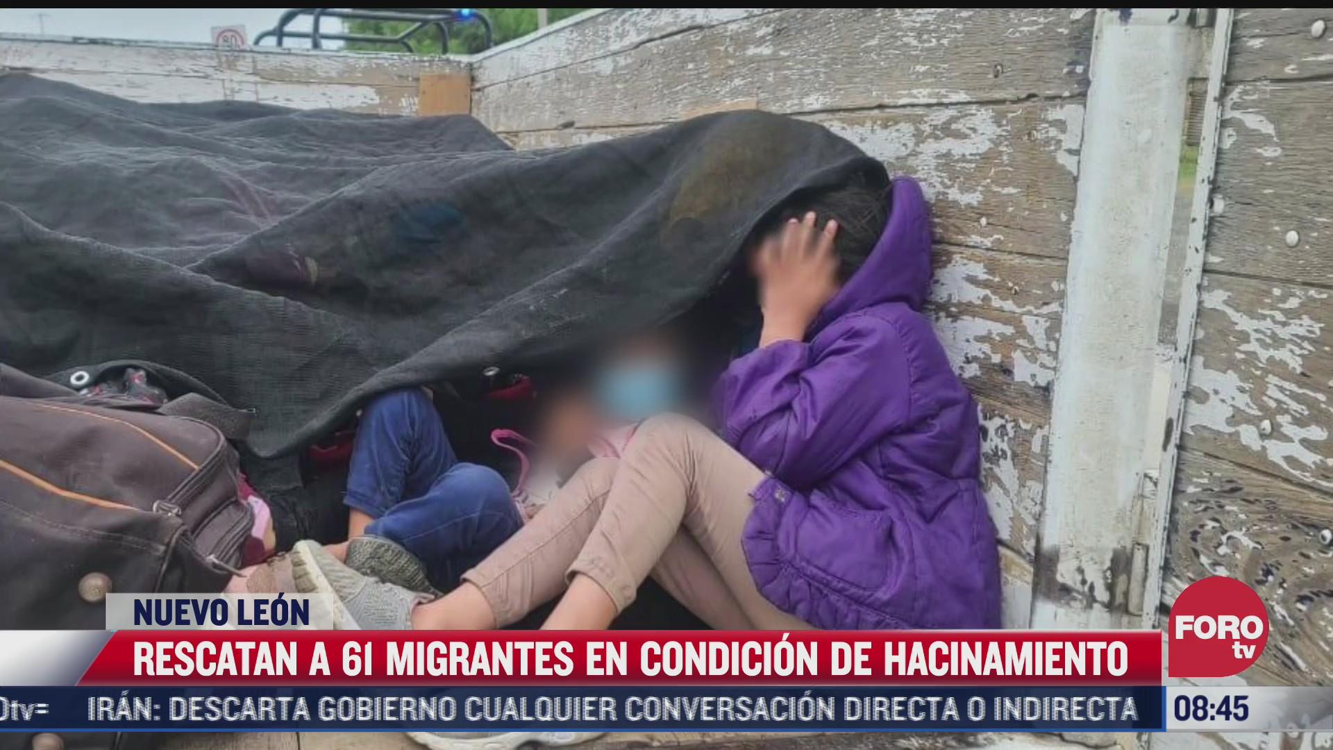 rescatan a 61 migrantes centroamericanos hacinados en un camion en nuevo leon