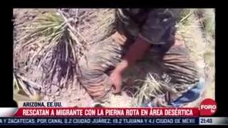 rescatan a migrante con pierna rota en desierto en arizona