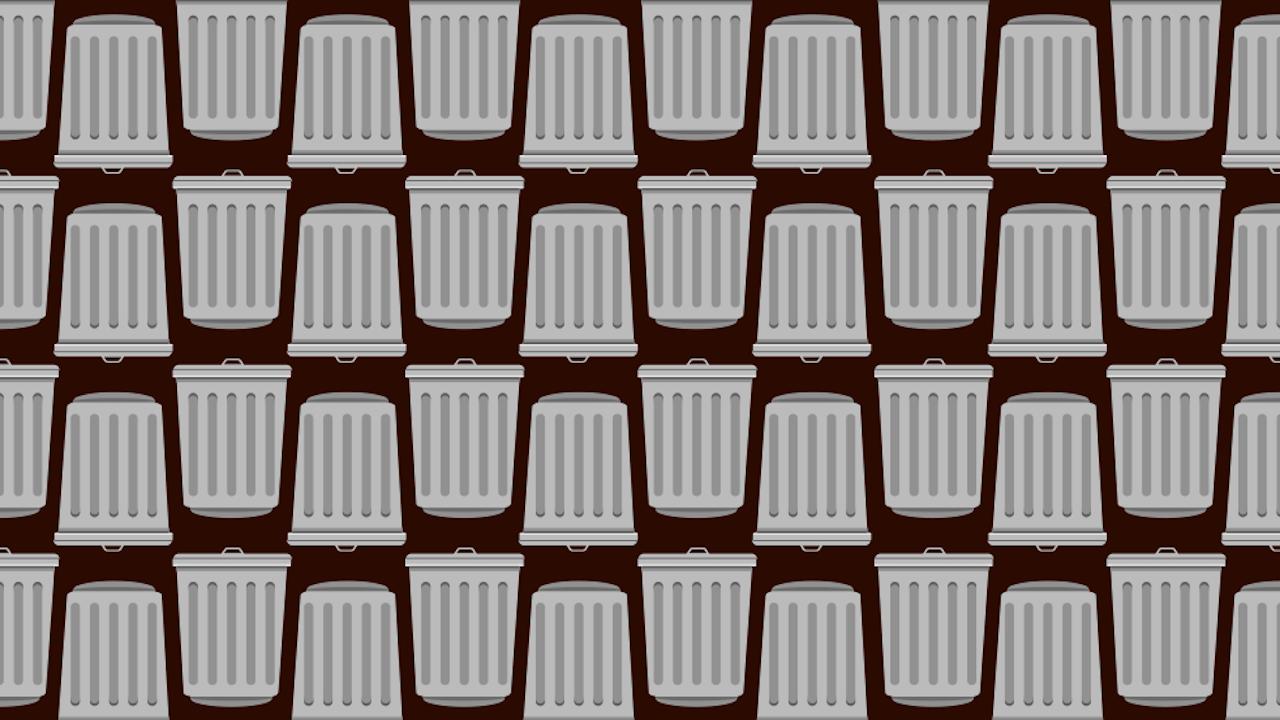 Encuentra los dos botes de basura que no tienen tapa, ilustración