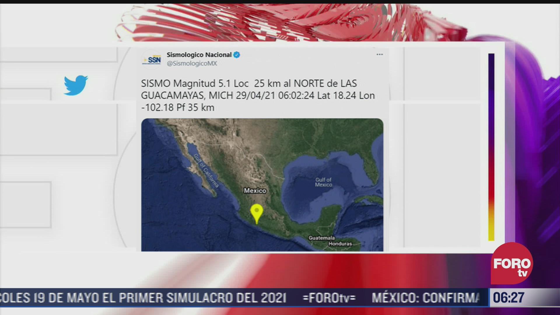 se registra sismo de magnitud 5 1 en michoacan
