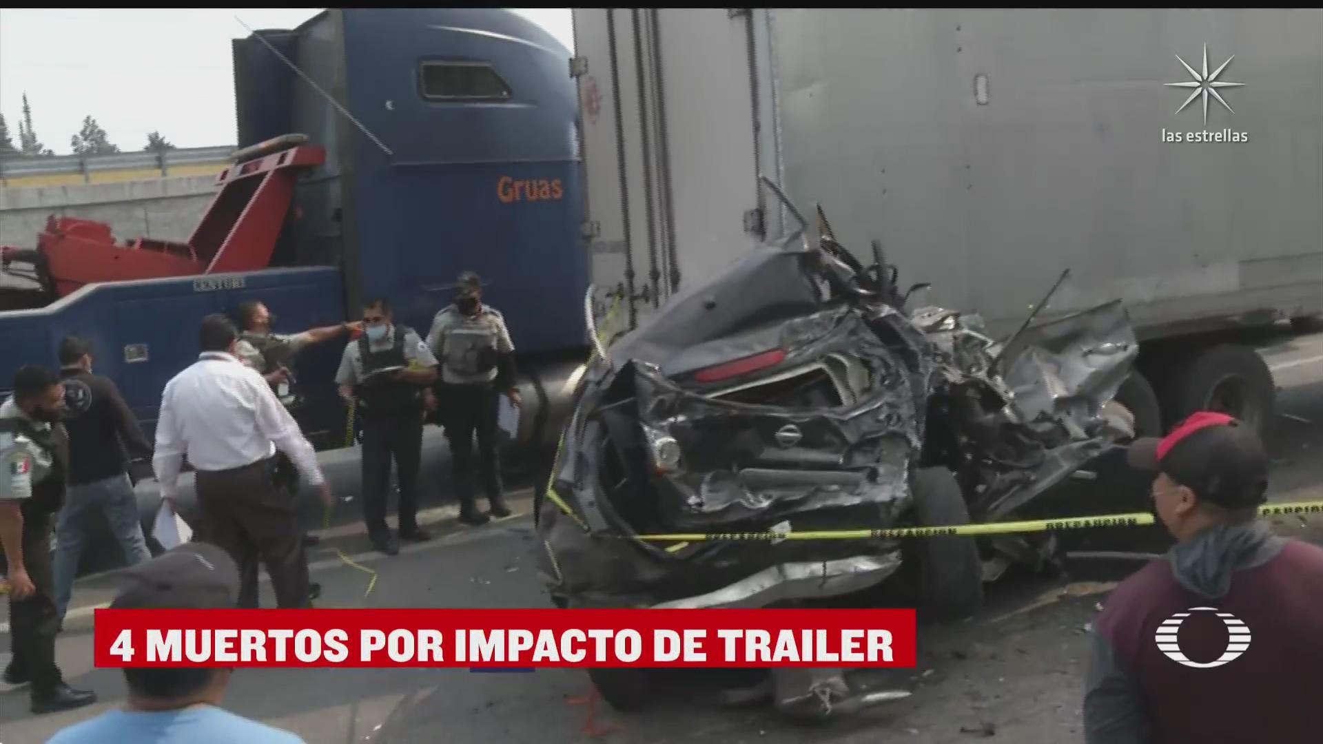 trailer a exceso de velocidad provoca la muerte de 4 personas en la mexico toluca