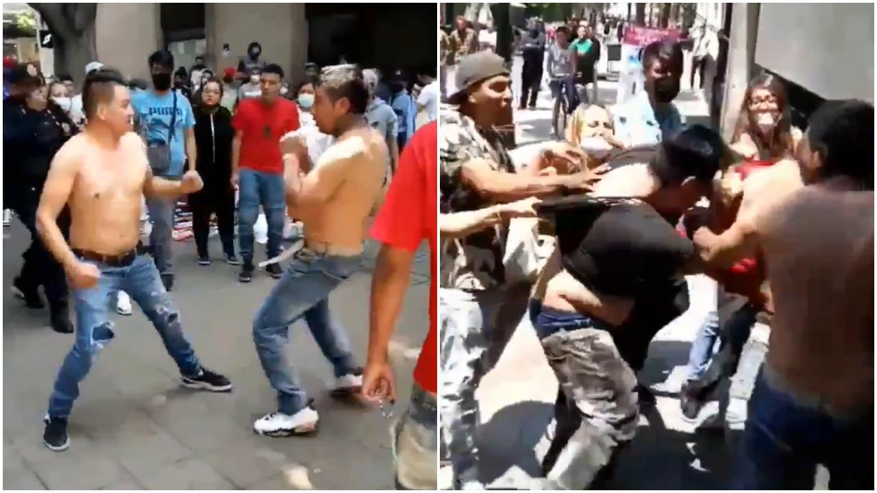 Video de pelea en el Centro Histórico de la CDMX se viraliza en redes sociales