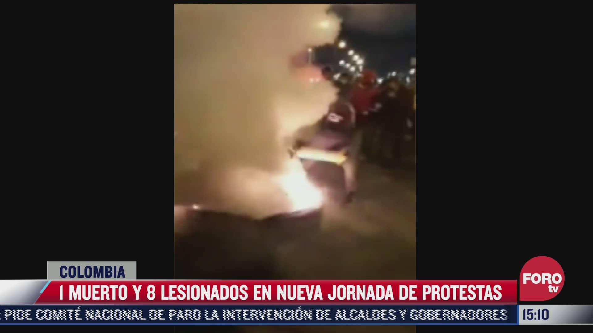 1 muerto y 8 lesionados en jornada de protestas en colombia