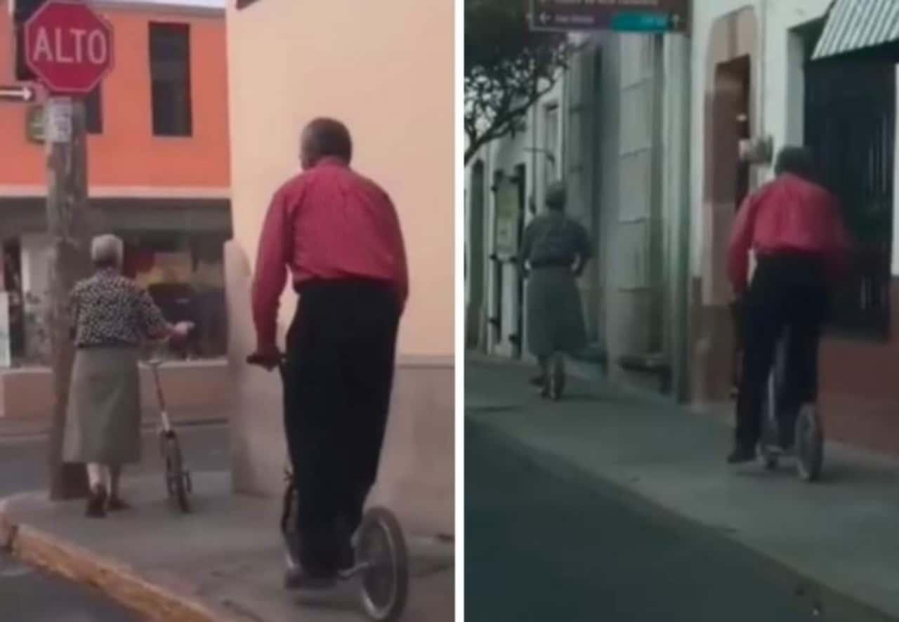 Abuelitos pasean juntos en patín por Durango: VIDEO