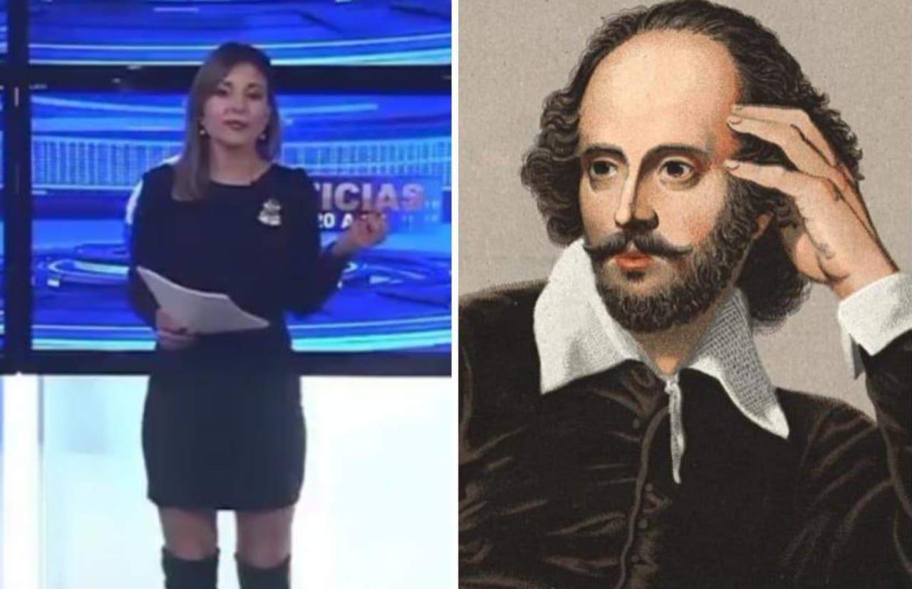 Conductora anunció muerte de Shakespeare, el dramaturgo