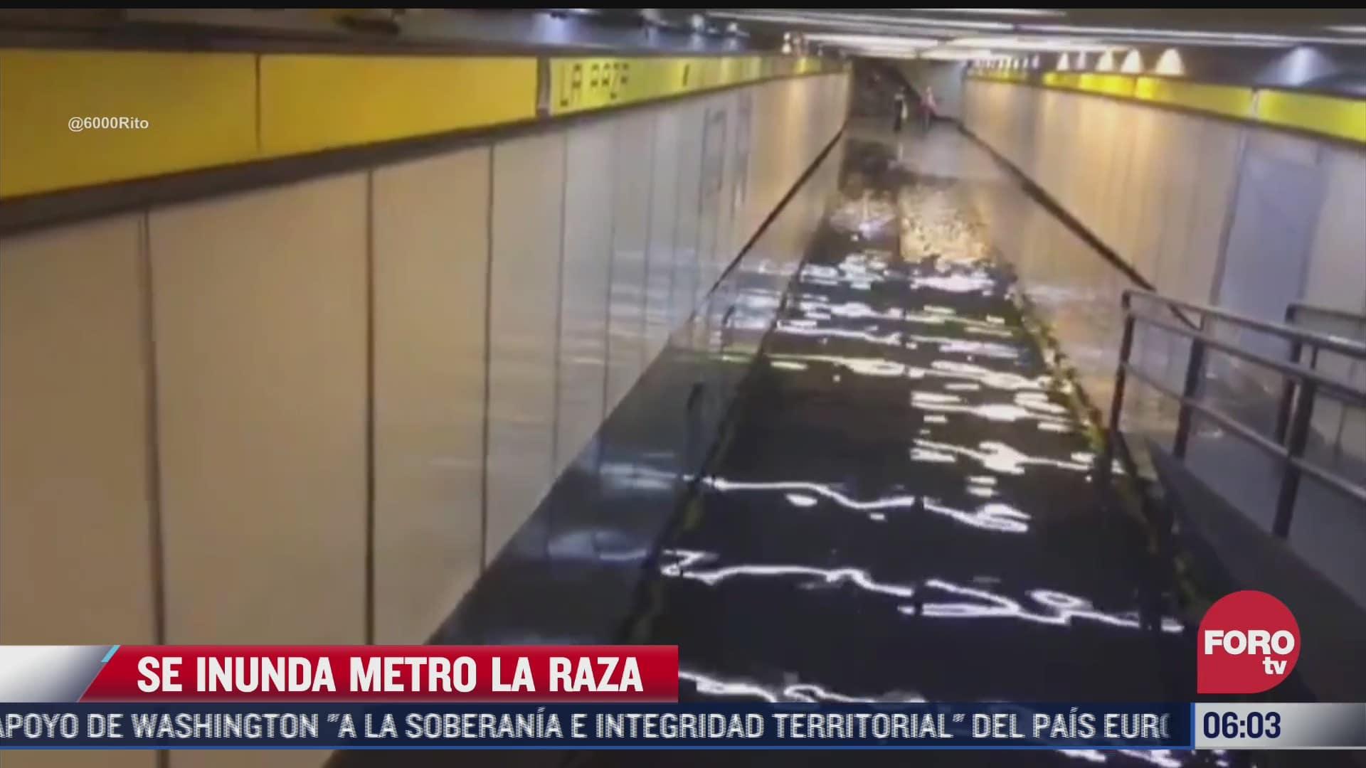 Fuerte lluvia provocó que estación del Metro La Razase inundara