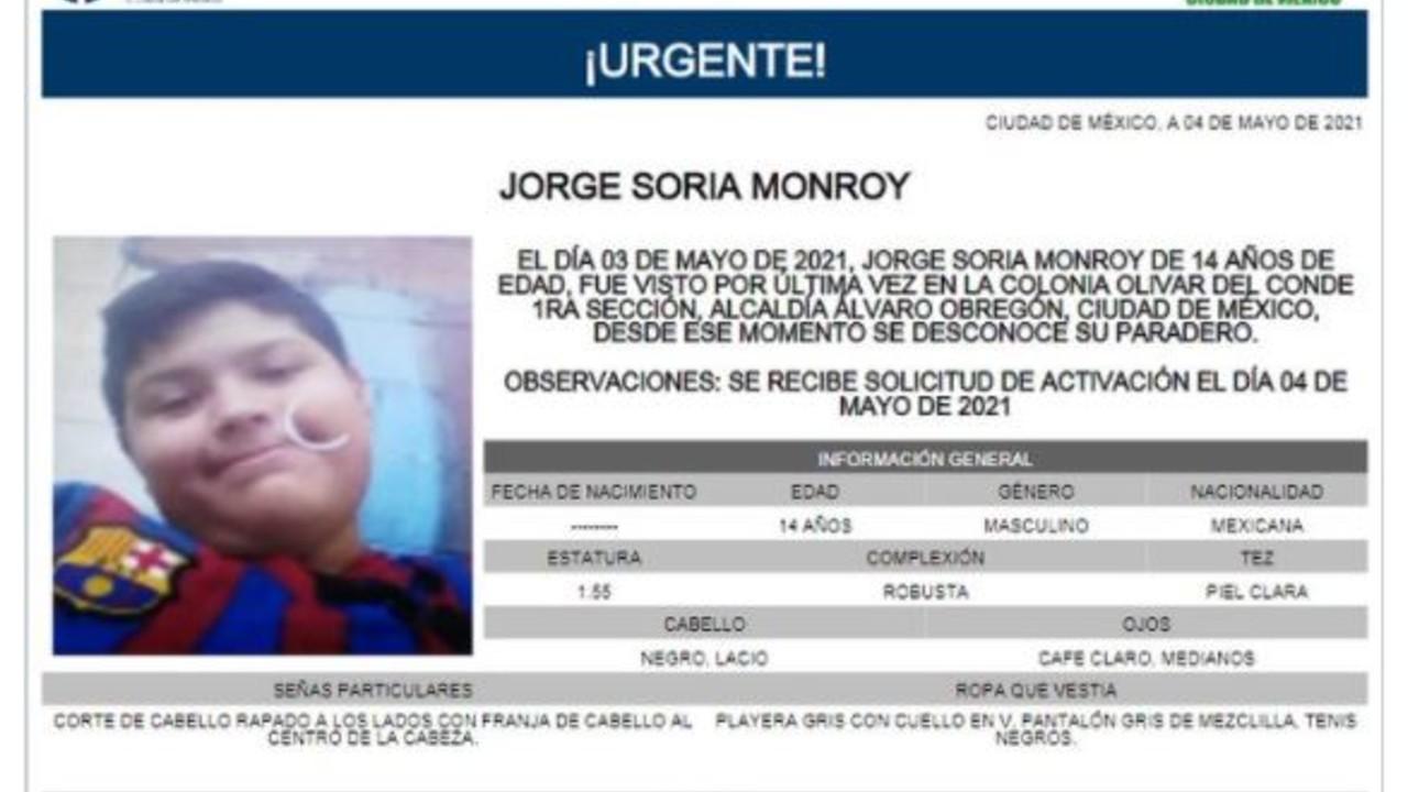 Activan Alerta Amber para localizar a Jorge Soria Monroy
