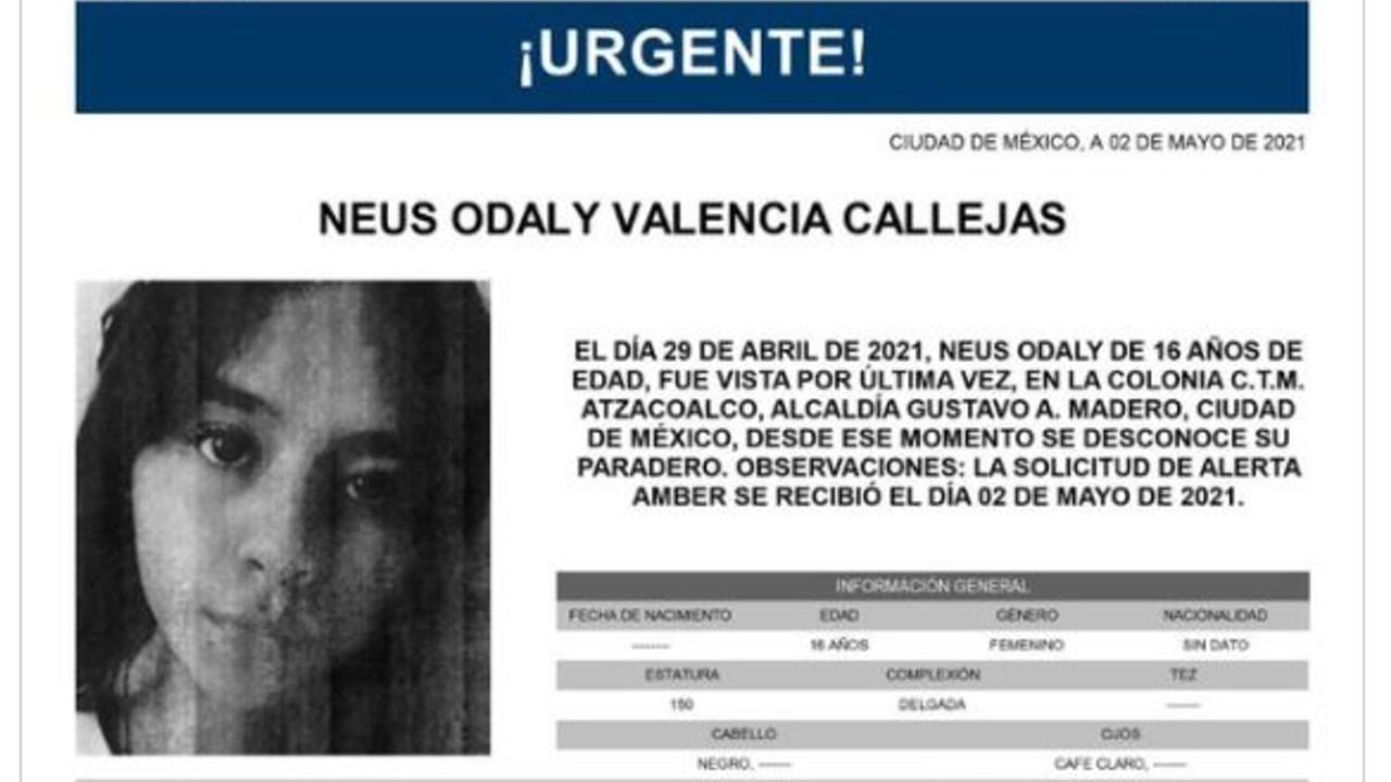 Activan Alerta Amber para Neus Odaly Valencia Callejas