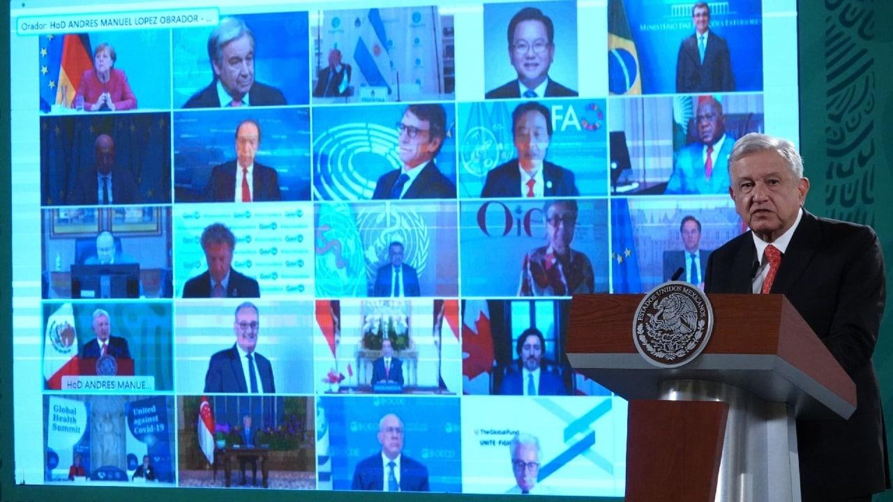 Andrés Manuel López Obrador dirigió un mensaje a la reunión de la Organización Mundial de la Salud G20, durante la conferencia matutina sobre seguridad en Palacio Nacional