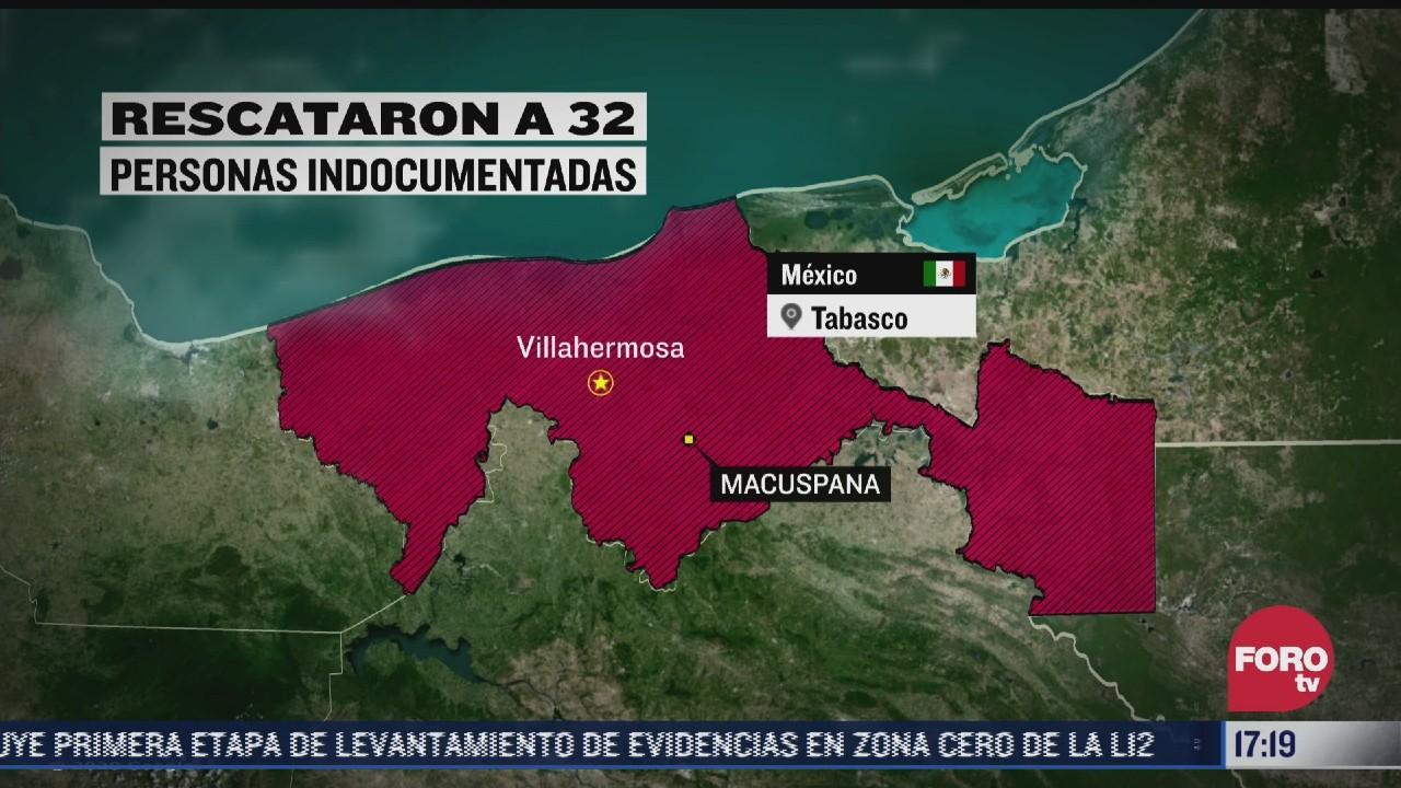 Aseguran a 32 indocumentados y detienen a 7 personas en Tabasco