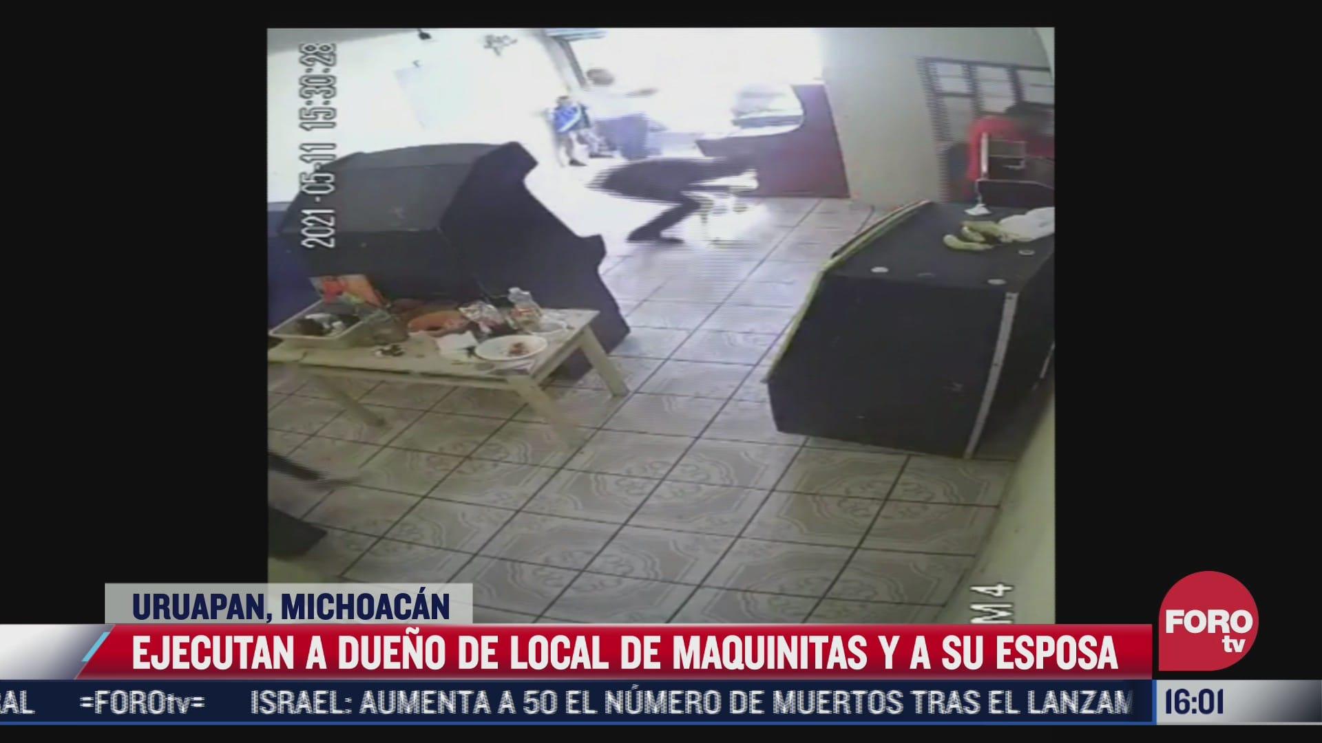 asesinan a un hombre y su esposa en un local de maquinitas en michoacan