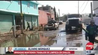 brigadas realizan labores de limpieza tras inundaciones en chalco