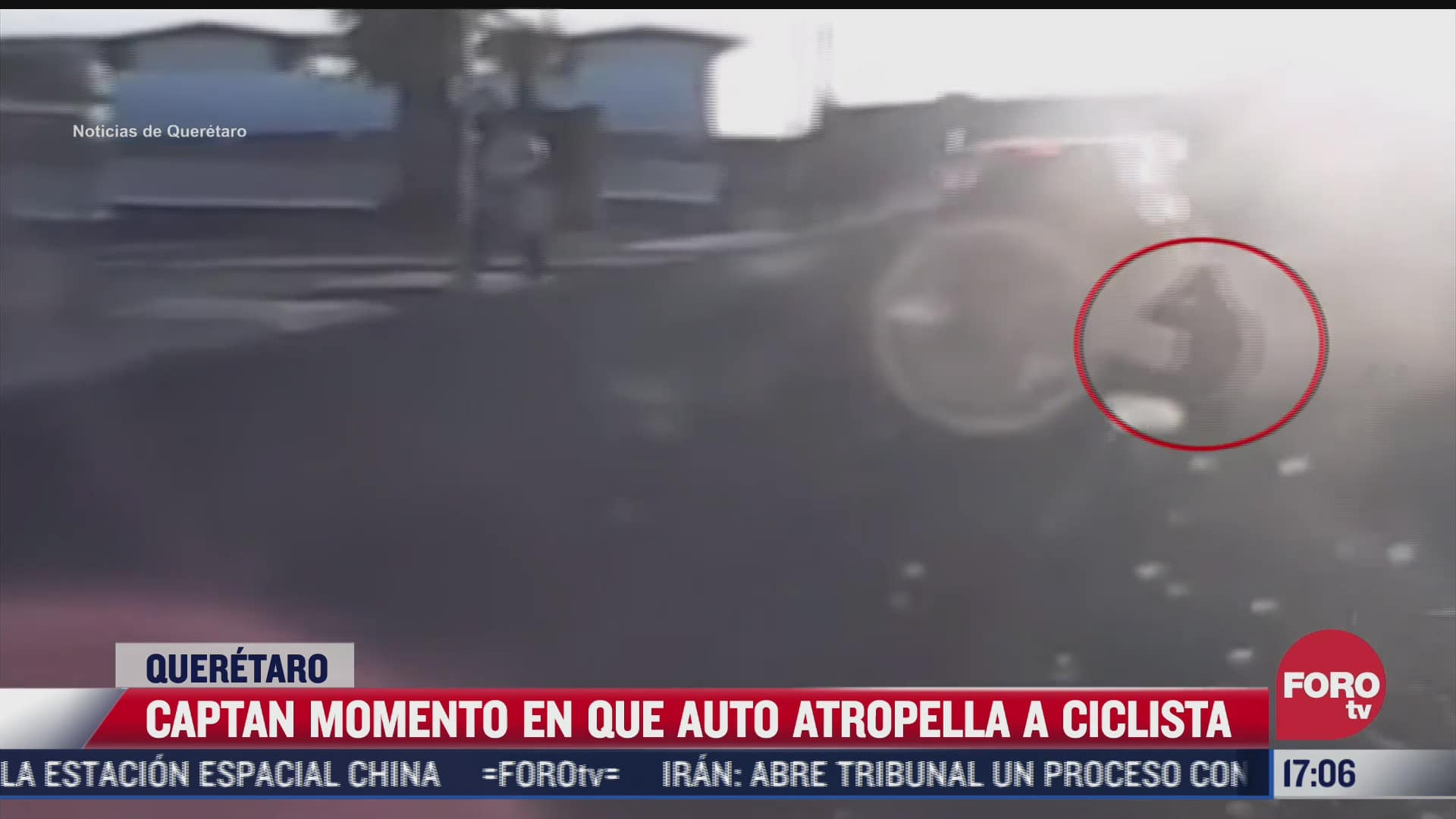 captan momento en que auto atropella a ciclista en queretaro