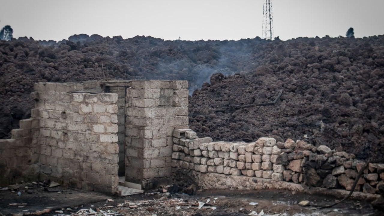Daños por erupción volcánica en el Congo