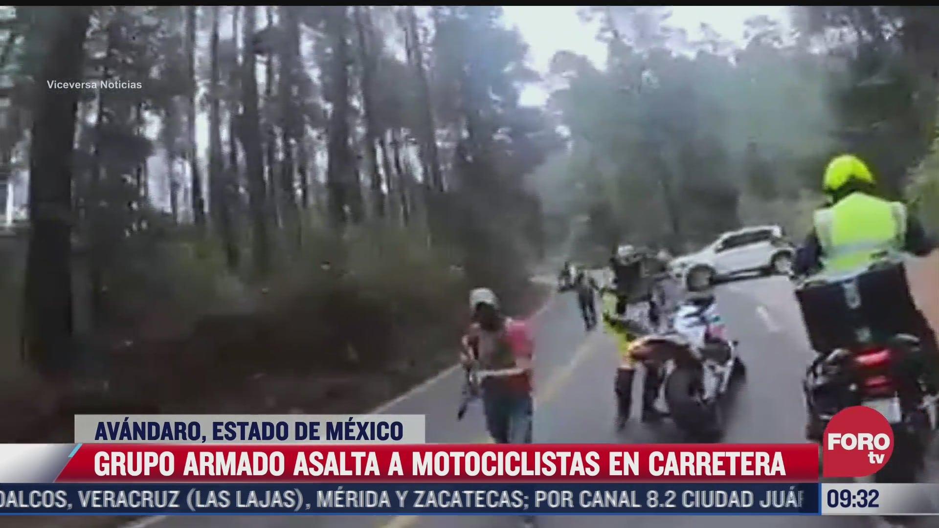 grupo armado asalta a varios motociclistas en avandaro estado de mexico