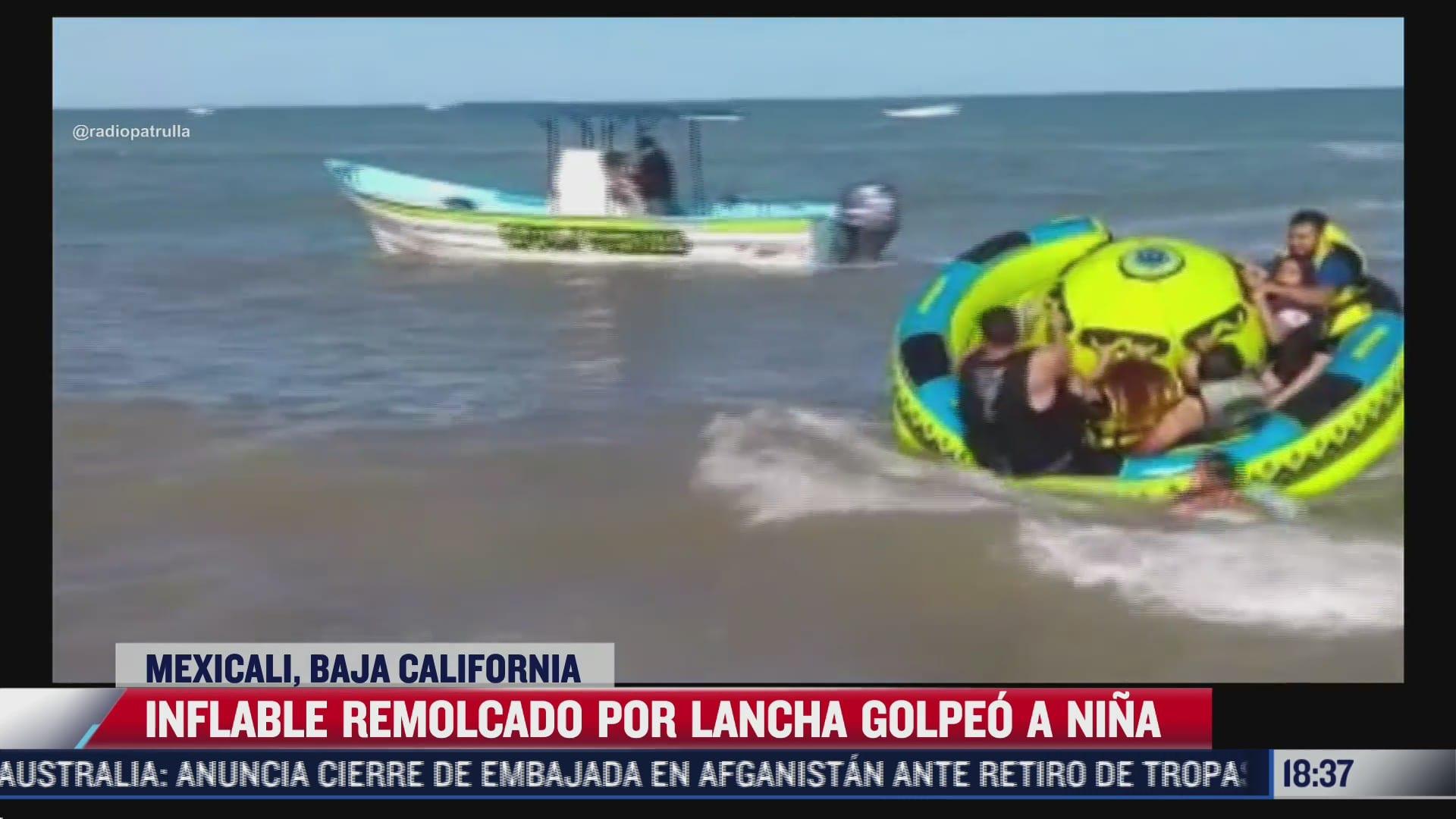 inflable remolcado golpea a nina que estaba en una playa de mexicali