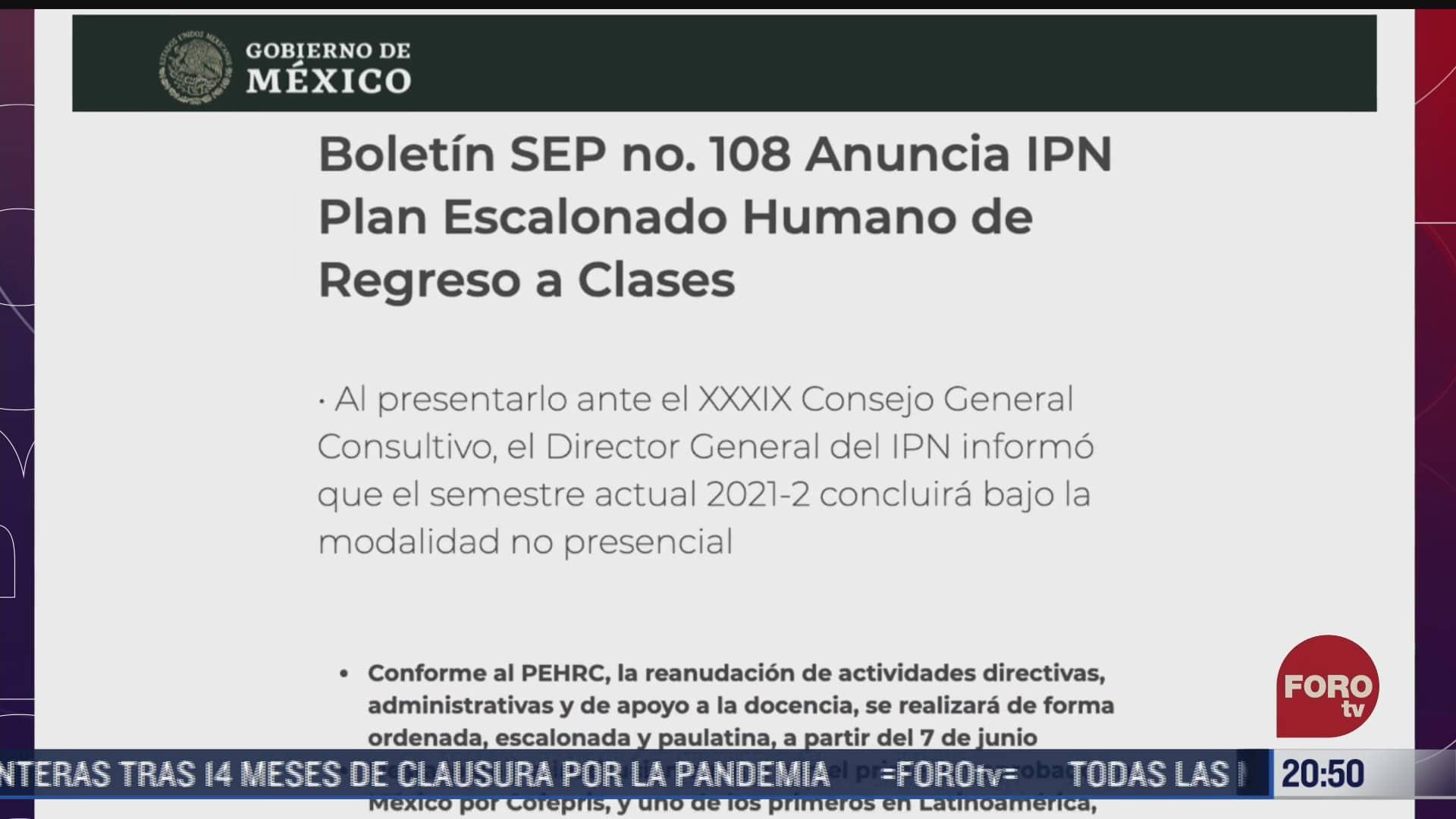 ipn no regresara a clases presenciales el 7 de junio
