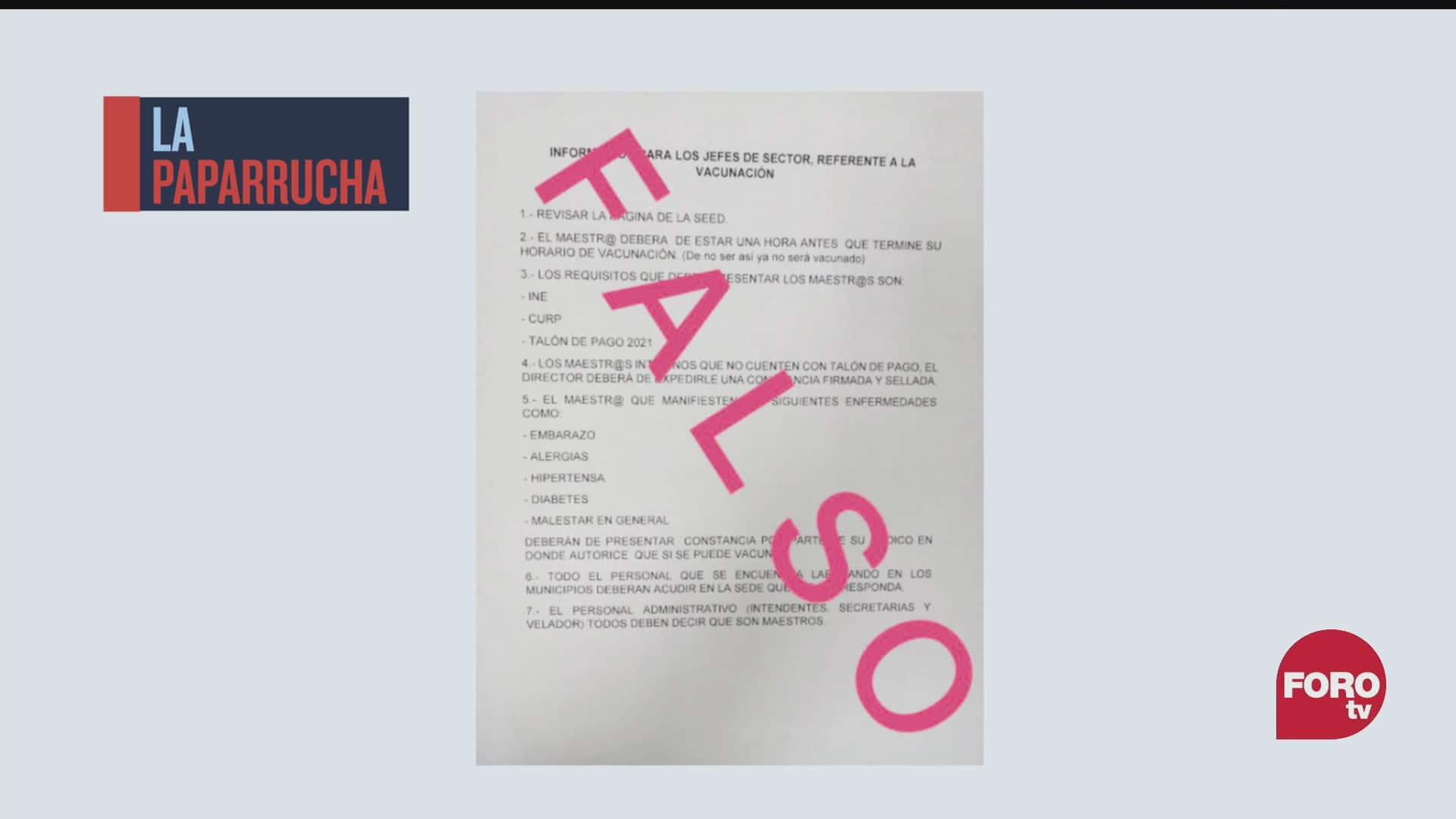 lista falsa de requisitos para que personal educativo sea vacunado contra covid la paparrucha del dia