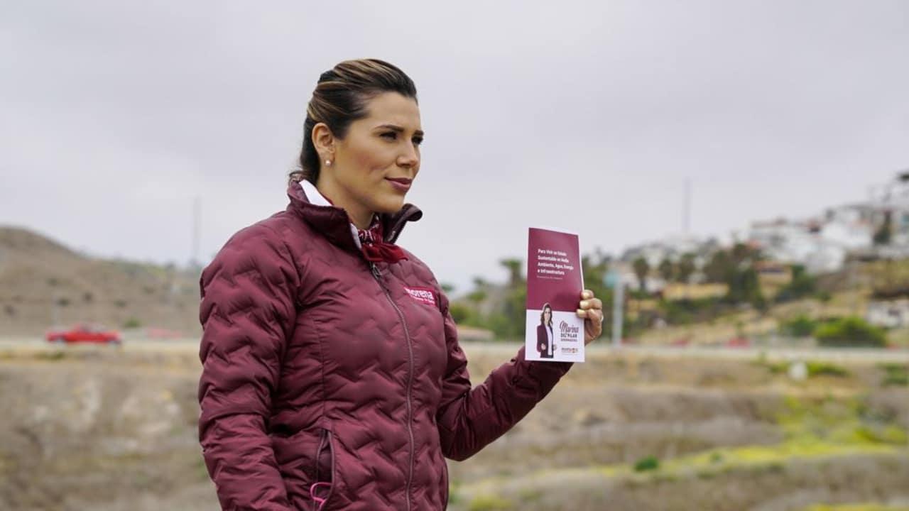 """Fotografía que muestra a Marina del Pilar Ávila, candidata a la gubernatura por la coalición """"Juntos Haremos Historia en Baja California"""""""