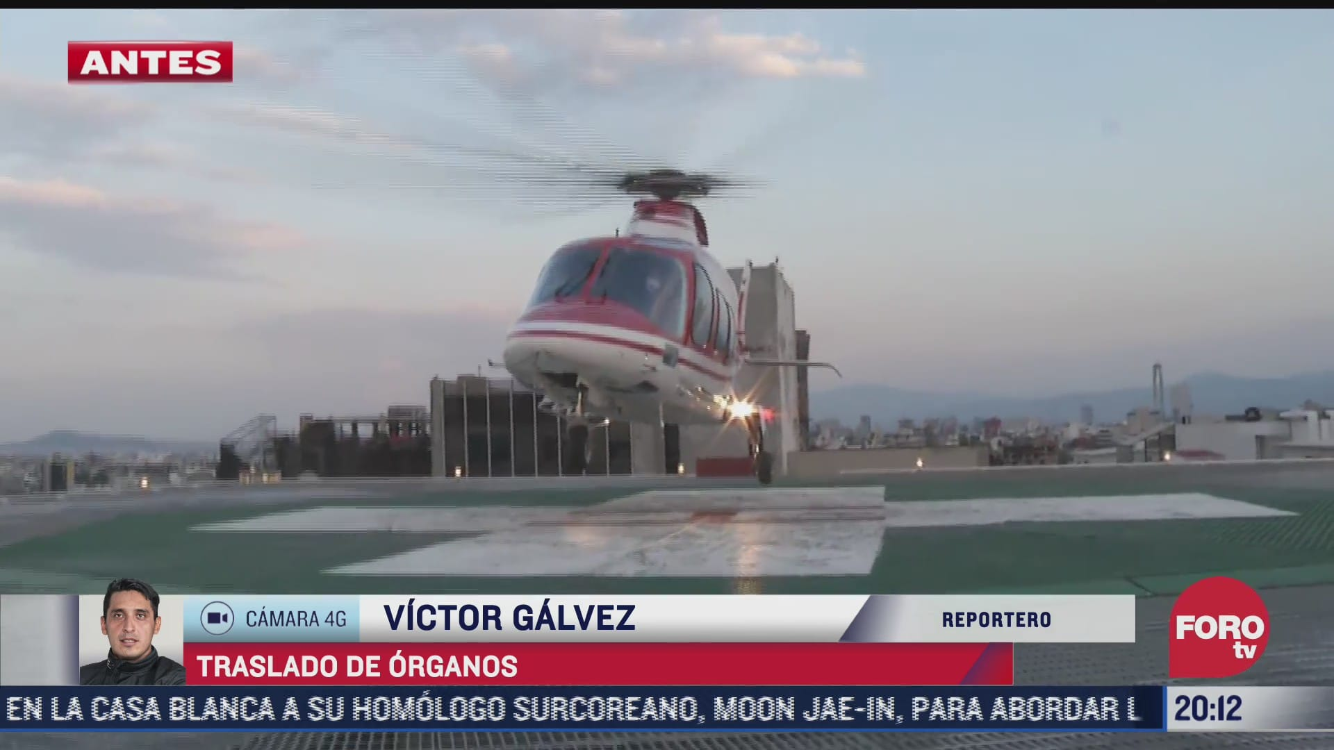 realizan traslado de organos en helicoptero relampago
