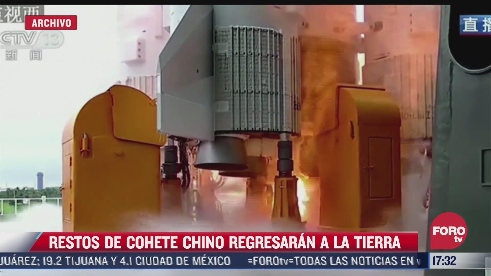 restos de cohete chino regresaran a la tierra