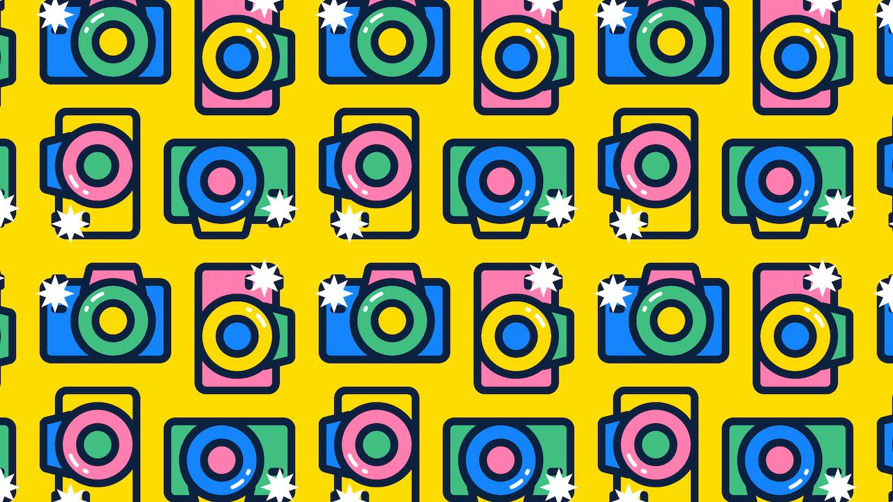 Encuentra 4 cámaras sin flash, ilustración