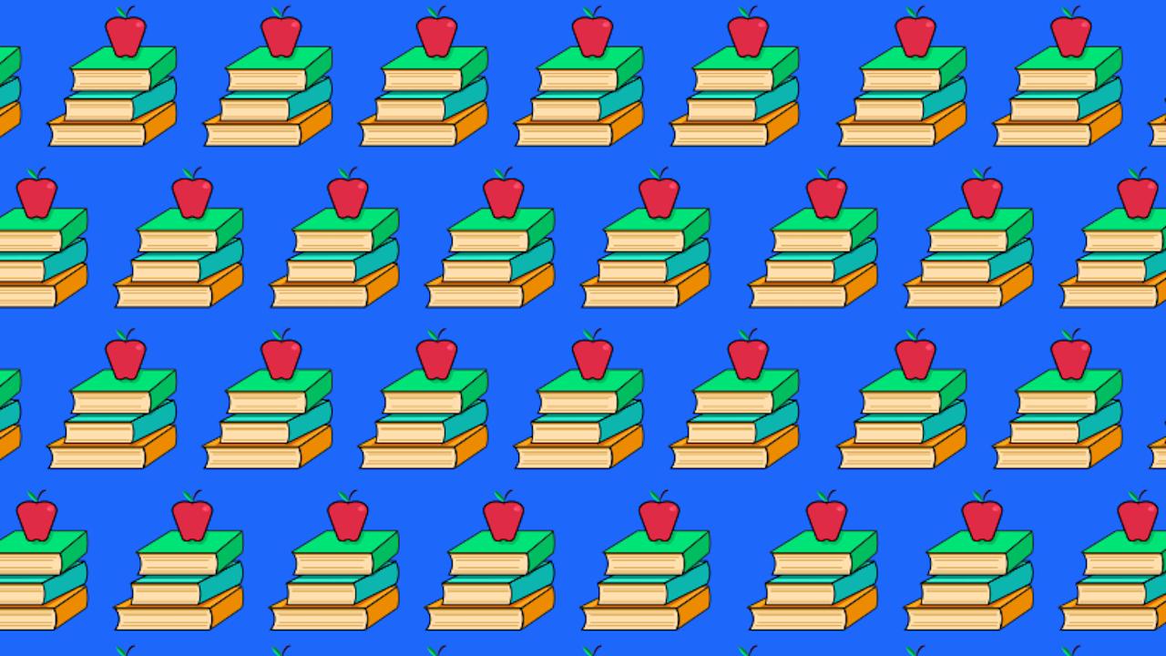 Dónde están las dos manzanas mordidas, ilustración