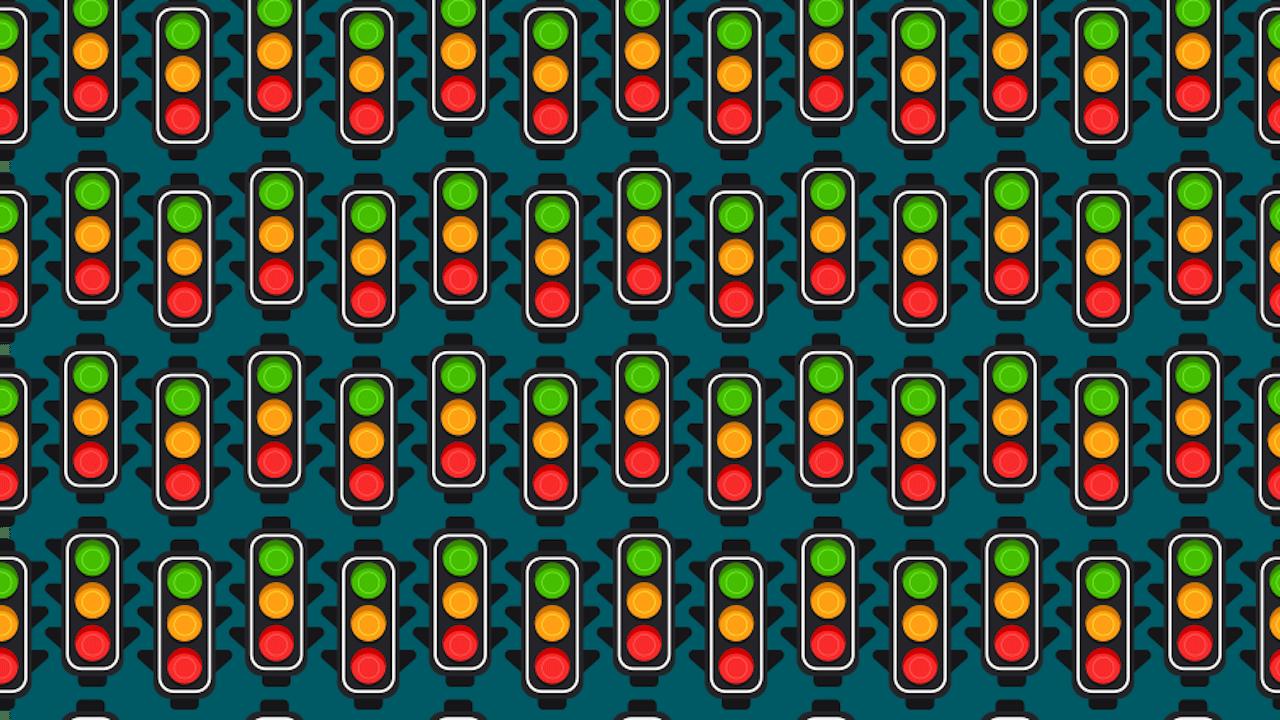 Encuentra los dos semáforos con doble color amarillo, ilustración