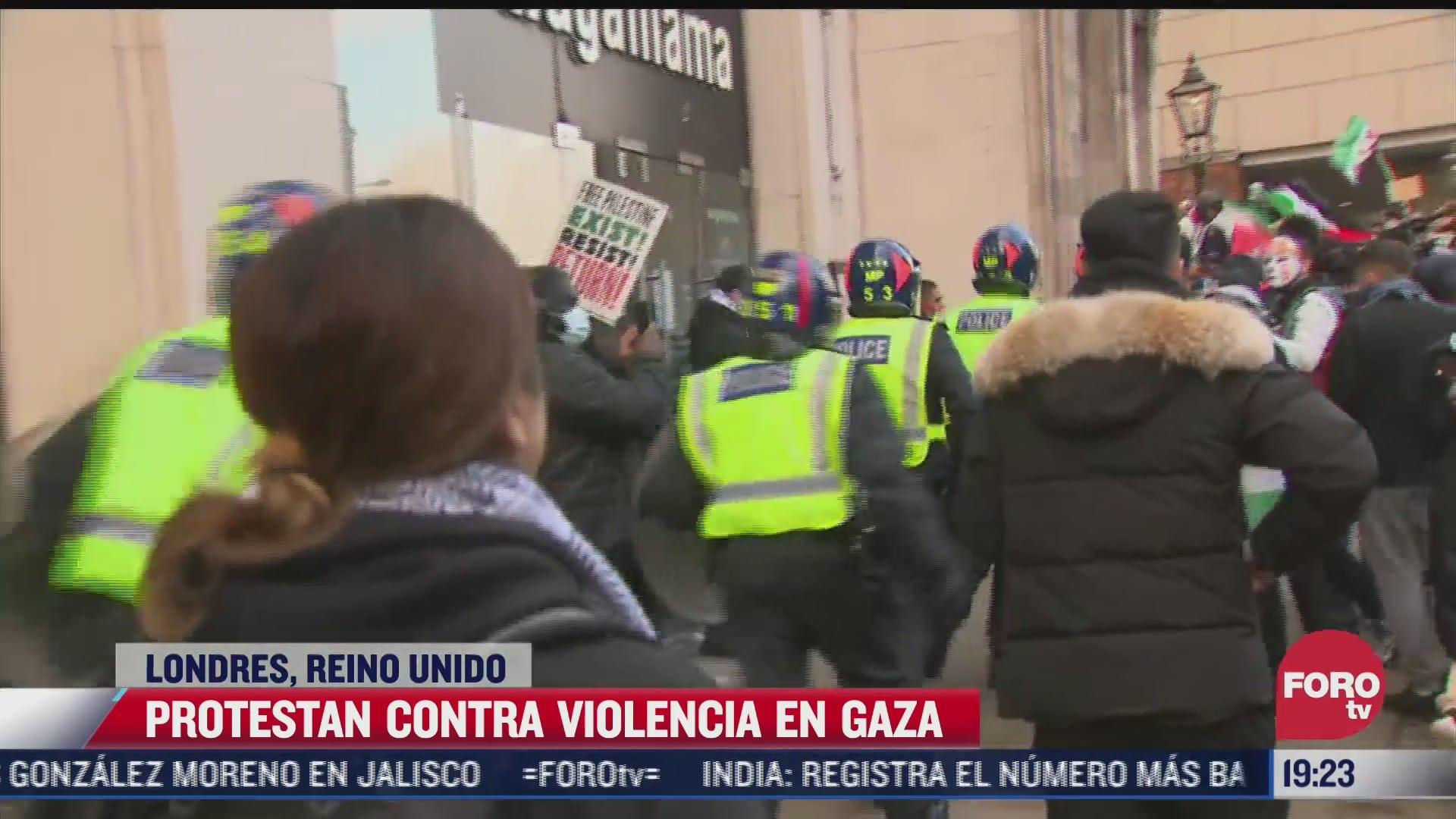 se registran protestas en reino unido por violencia en la franja de gaza