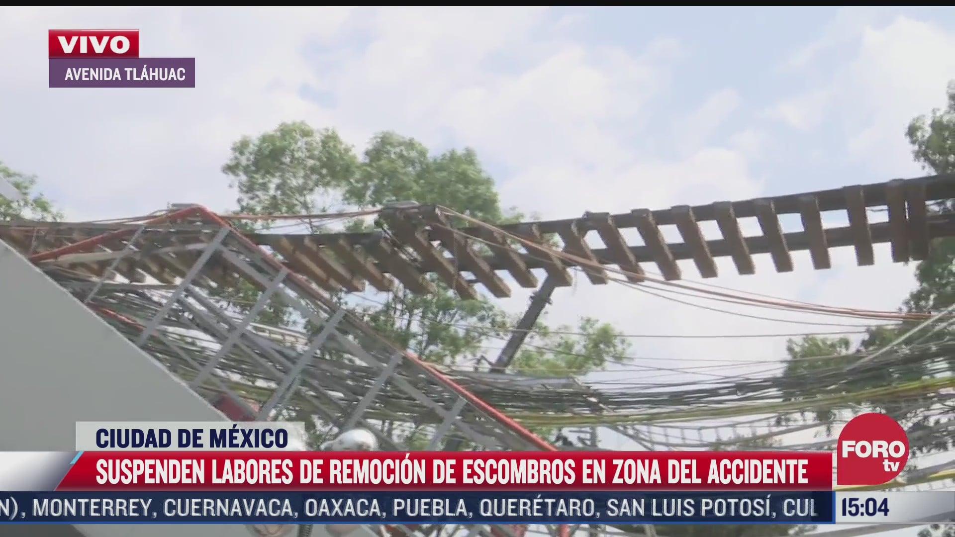 suspenden labores de remocion de escombros en zona de accidente de la linea 12 del metro