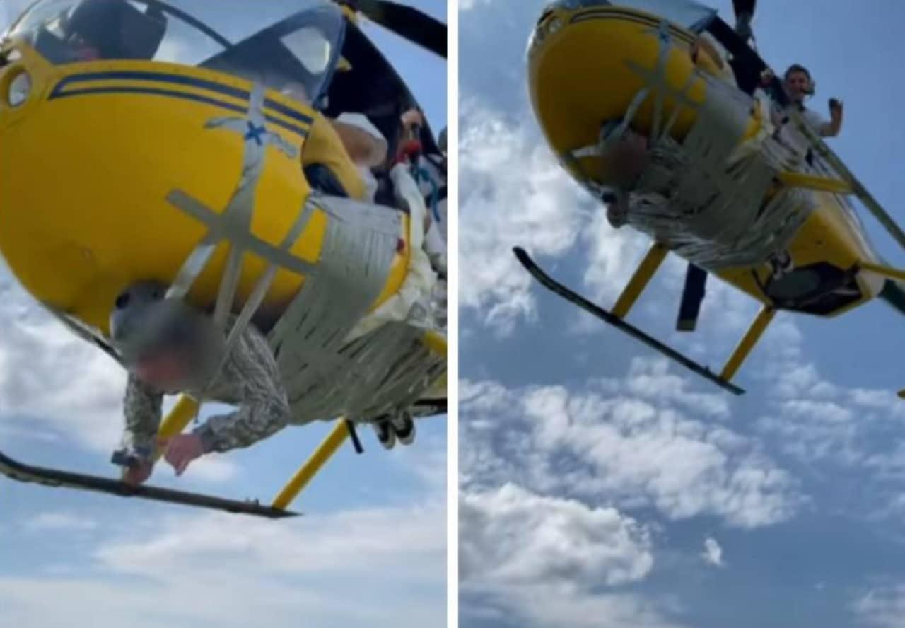 Youtuber ata un hombre a helicóptero con cinta en Rusia