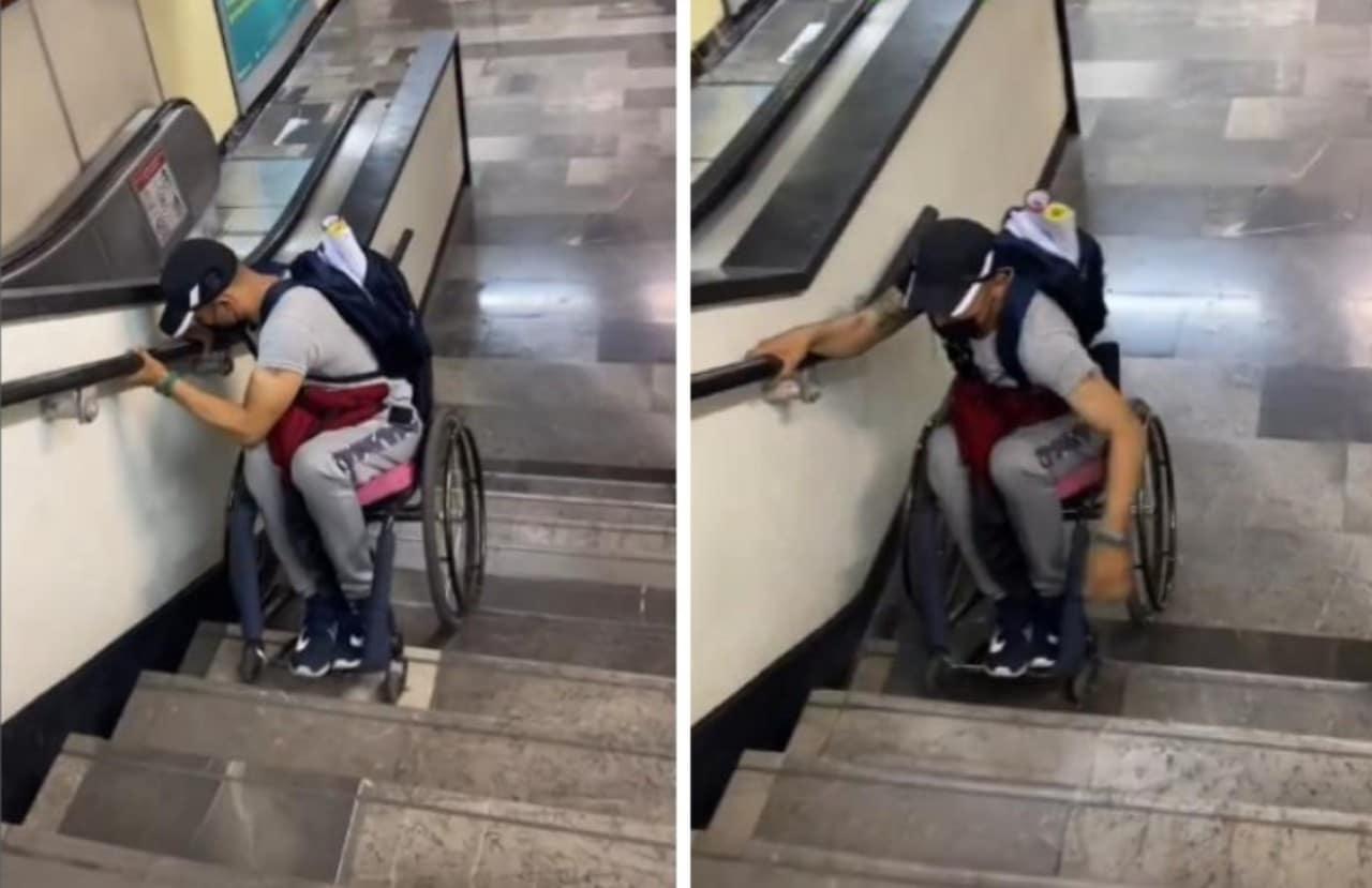 En silla de ruedas baja escaleras de Metro de CDMX