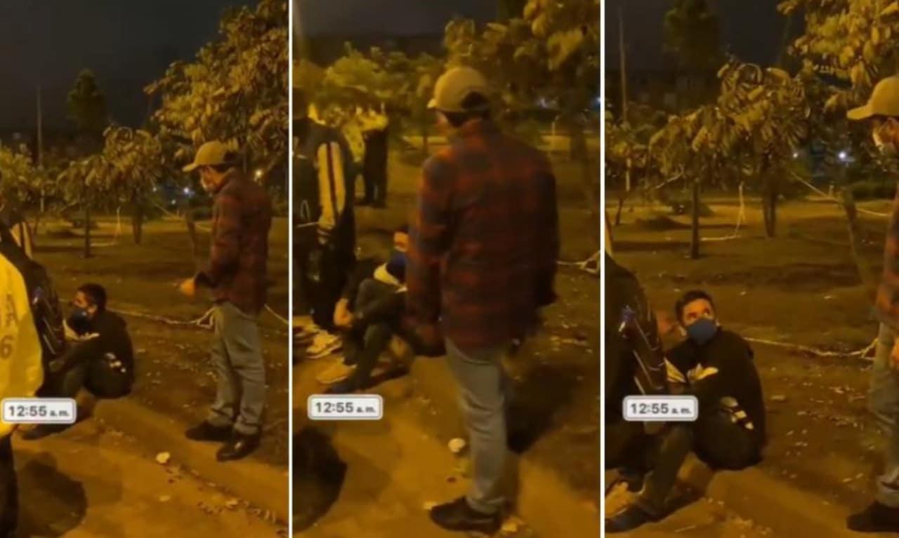 Papá regaña a su hijo por acudir a las protestas en Colombia