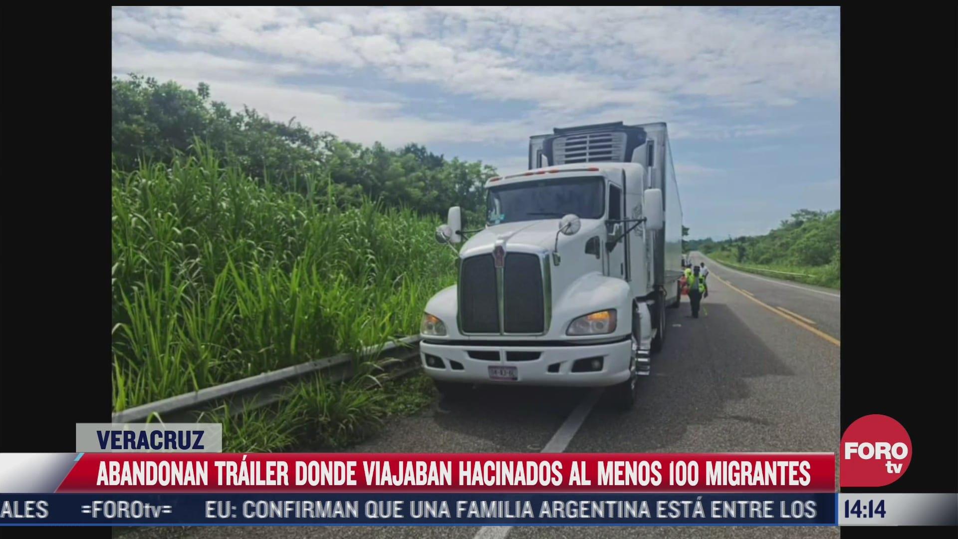abandonan trailer con 100 migrantes en veracruz uno murio