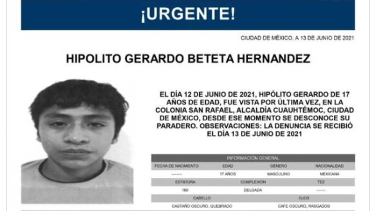 Activan Alerta Amber para Hipólito Gerardo Beteta Hernández
