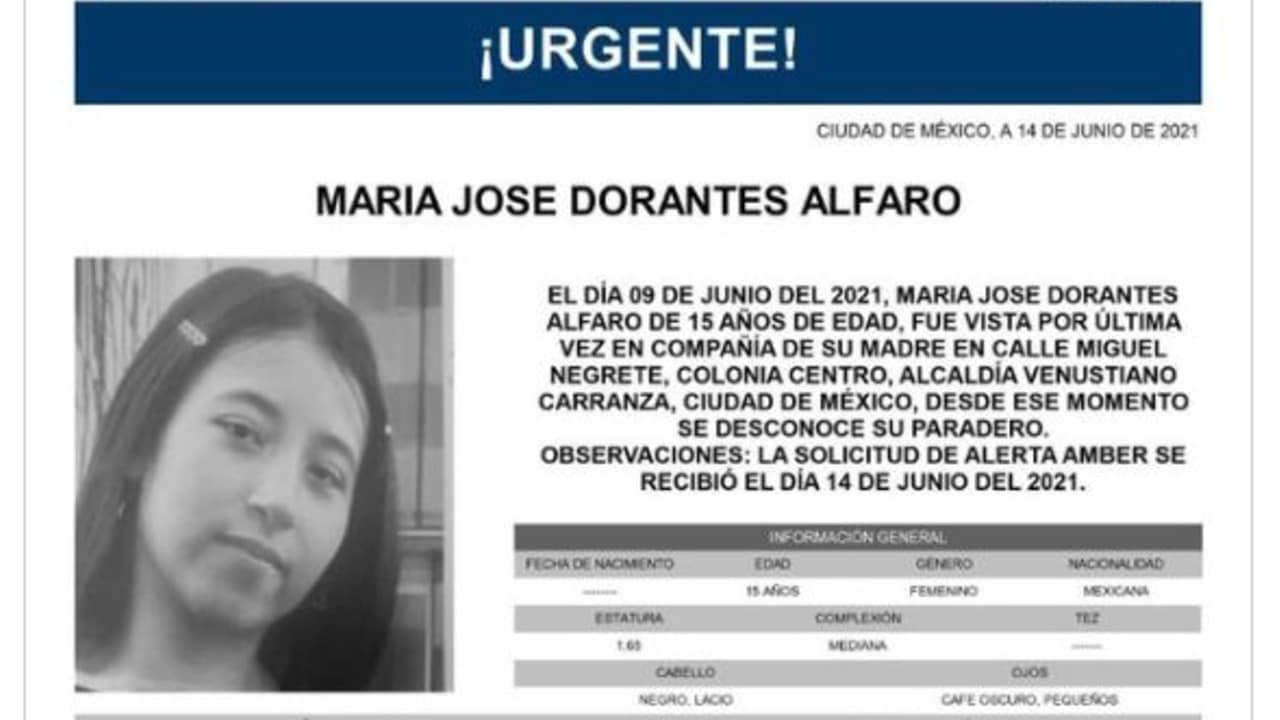 Activan Alerta Amber para María José Dorantes Alfaro