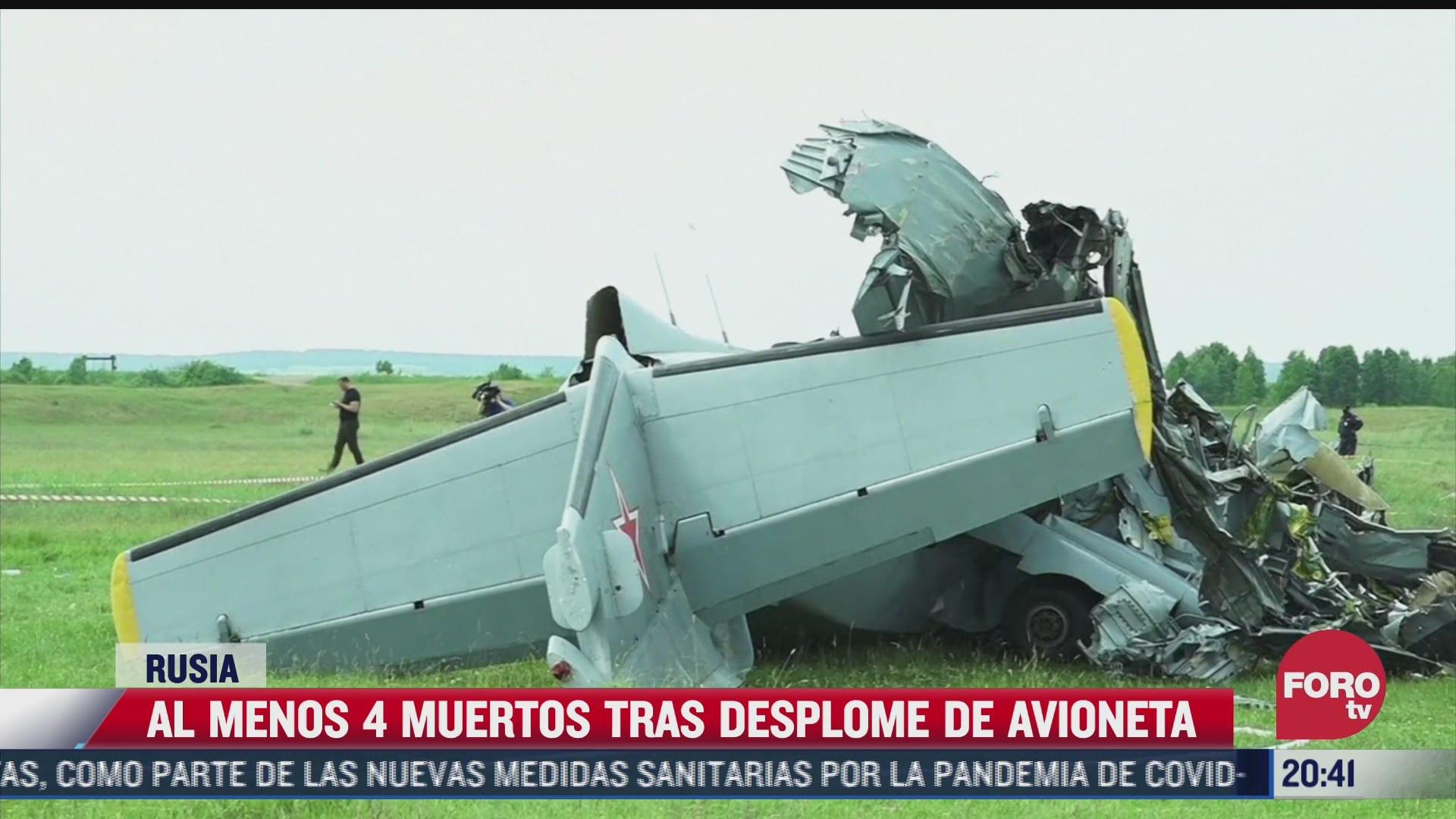 al menos 4 muertos tras desplome de avioneta en rusia