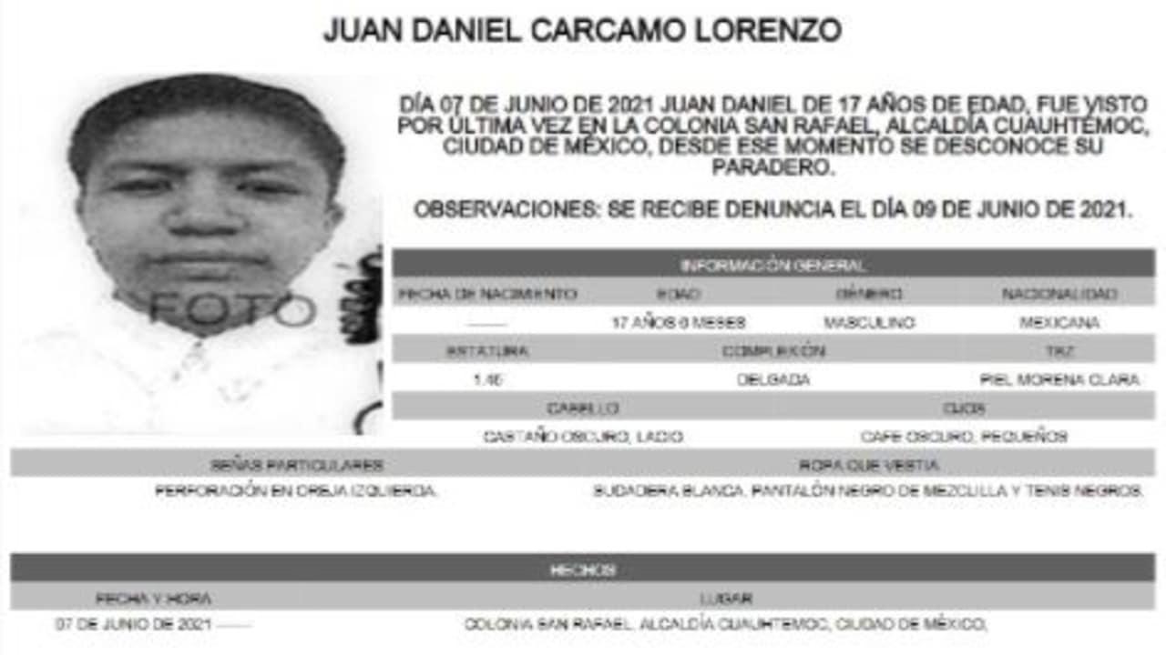 Activan Alerta Amber para localizar a Juan Daniel Carcamo Lorenzo