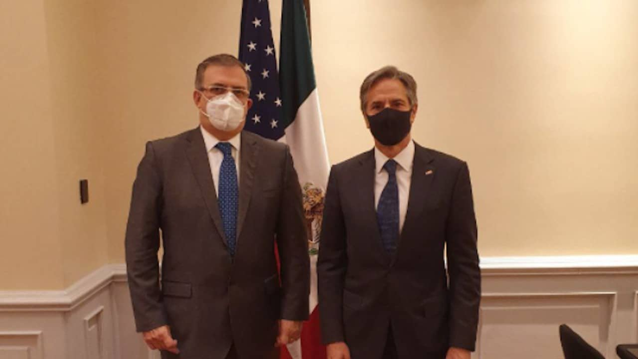 El secretario de Estado de Estados Unidos, Antony Blinken, con el canciller mexicano Marcelo Ebrard en Costa Rica (Twitter: @m_ebrard)