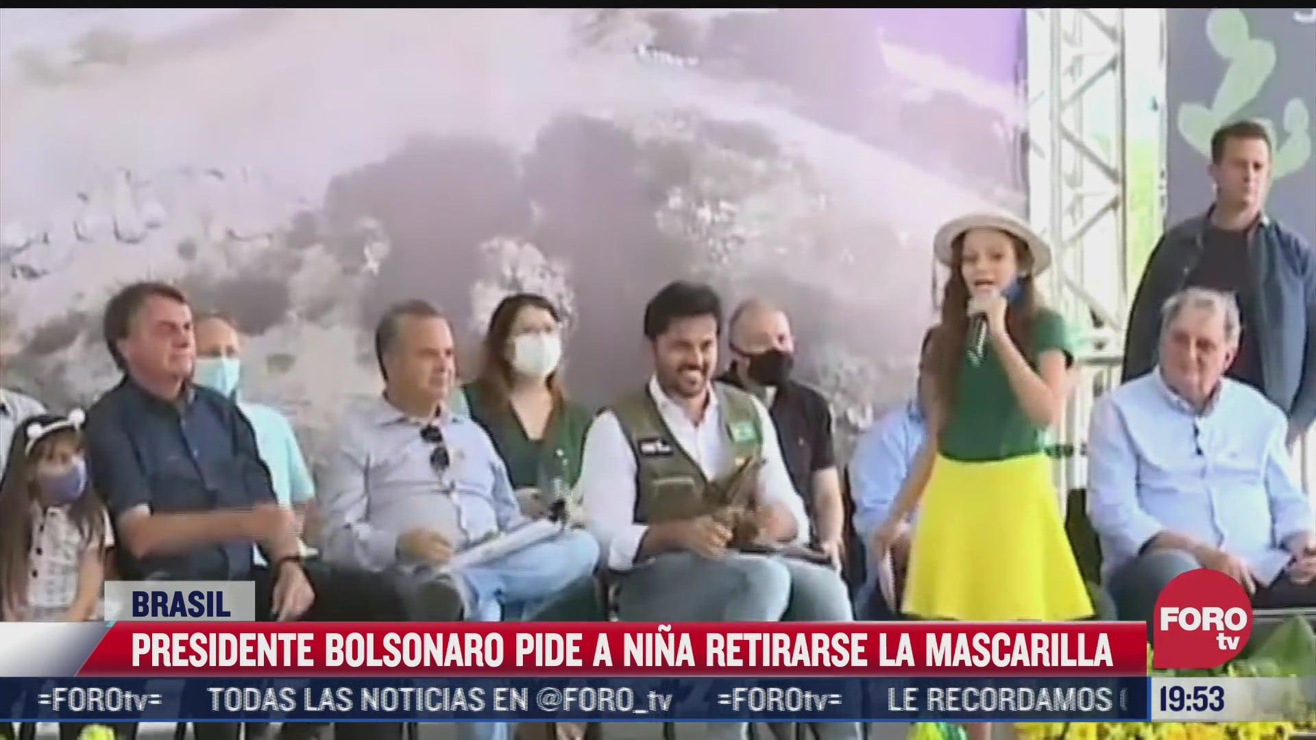 bolsonaro pide a nina quitarse cubrebocas