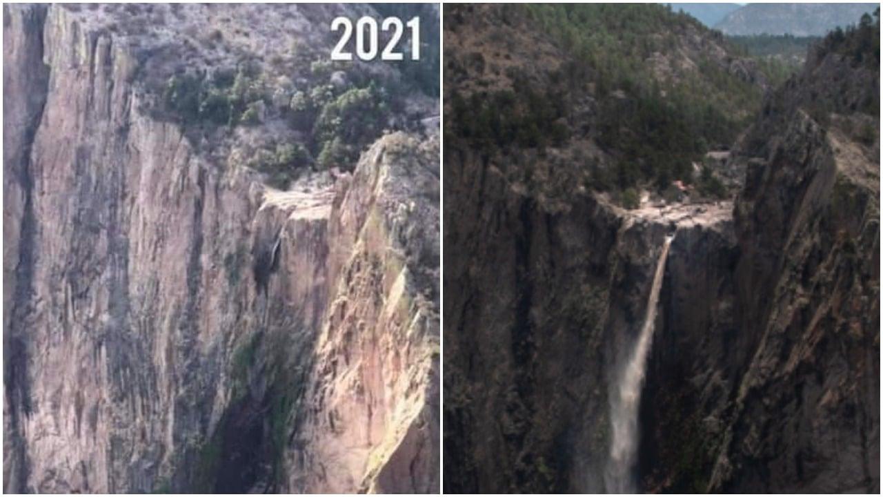 Cascada de Basaseachi se recupera tras estar casi seca en Chihuahua