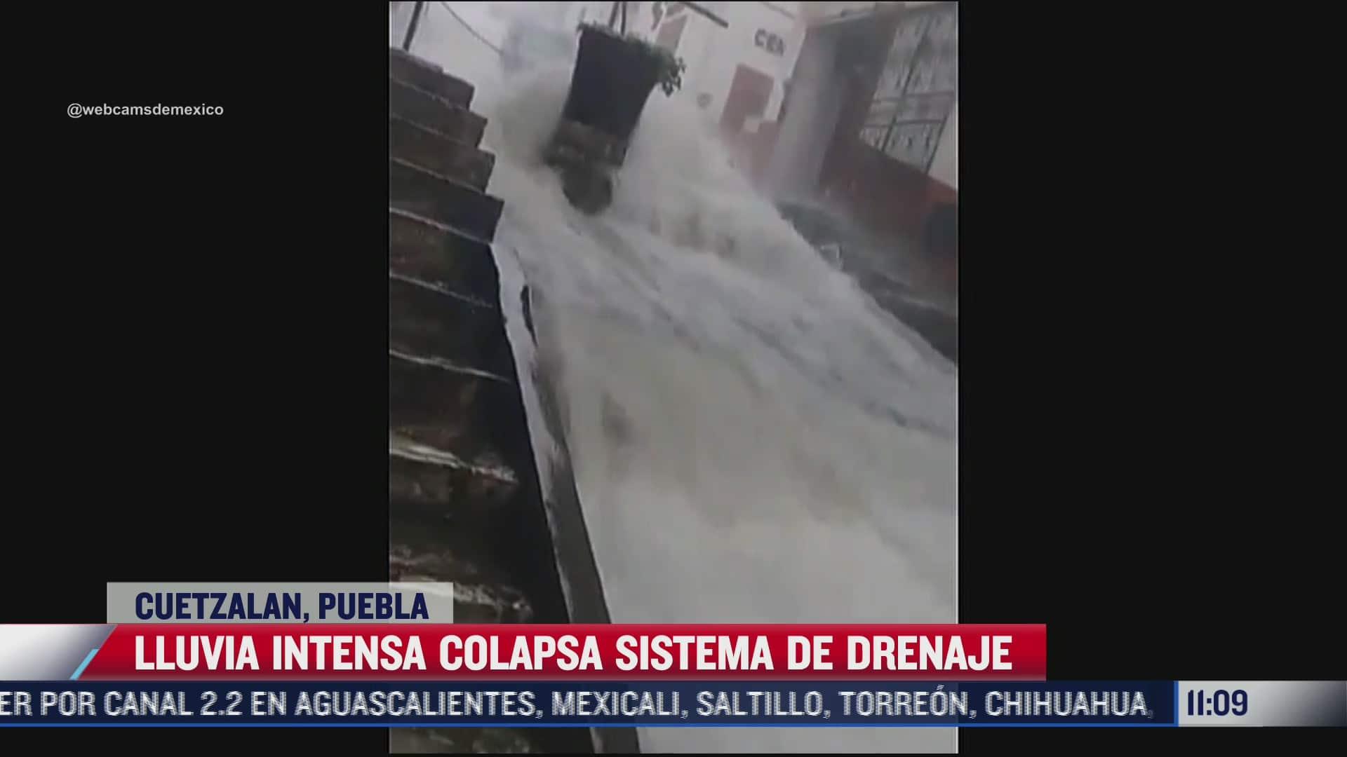 Intensas lluvias convierten en ríos las calles de Cuetzalan, Puebla