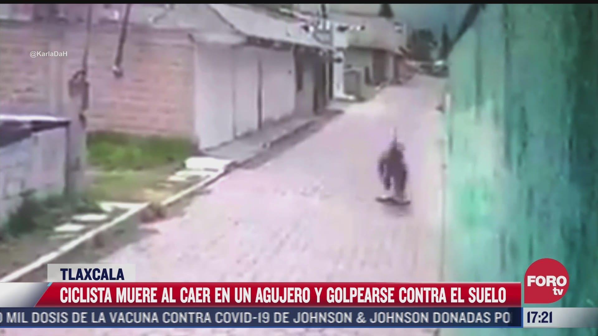 ciclista muere al caer en agujero y golpearse la cabeza en tlaxcala